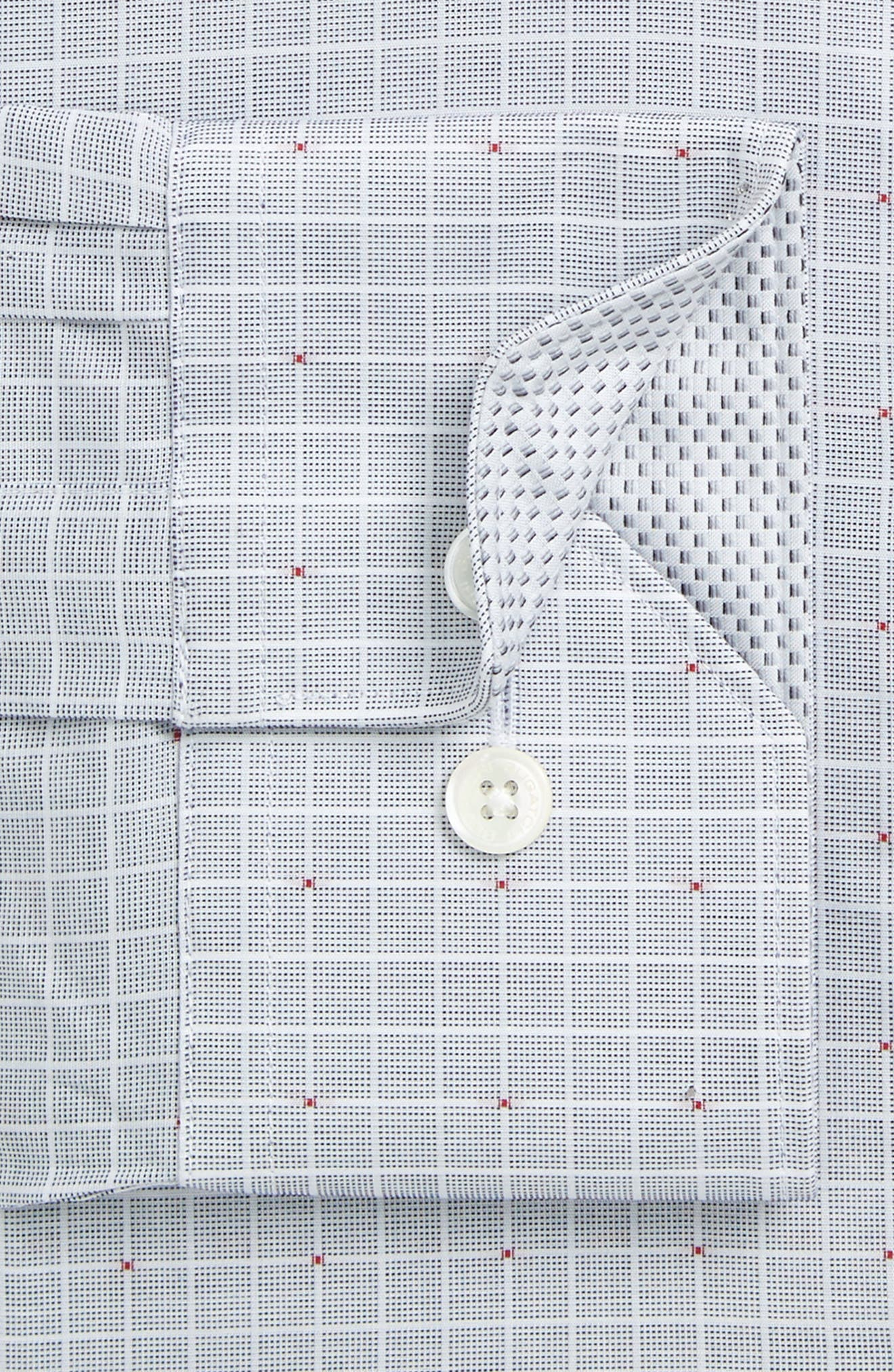 Trim Fit Check Dress Shirt,                             Alternate thumbnail 2, color,                             Platinum