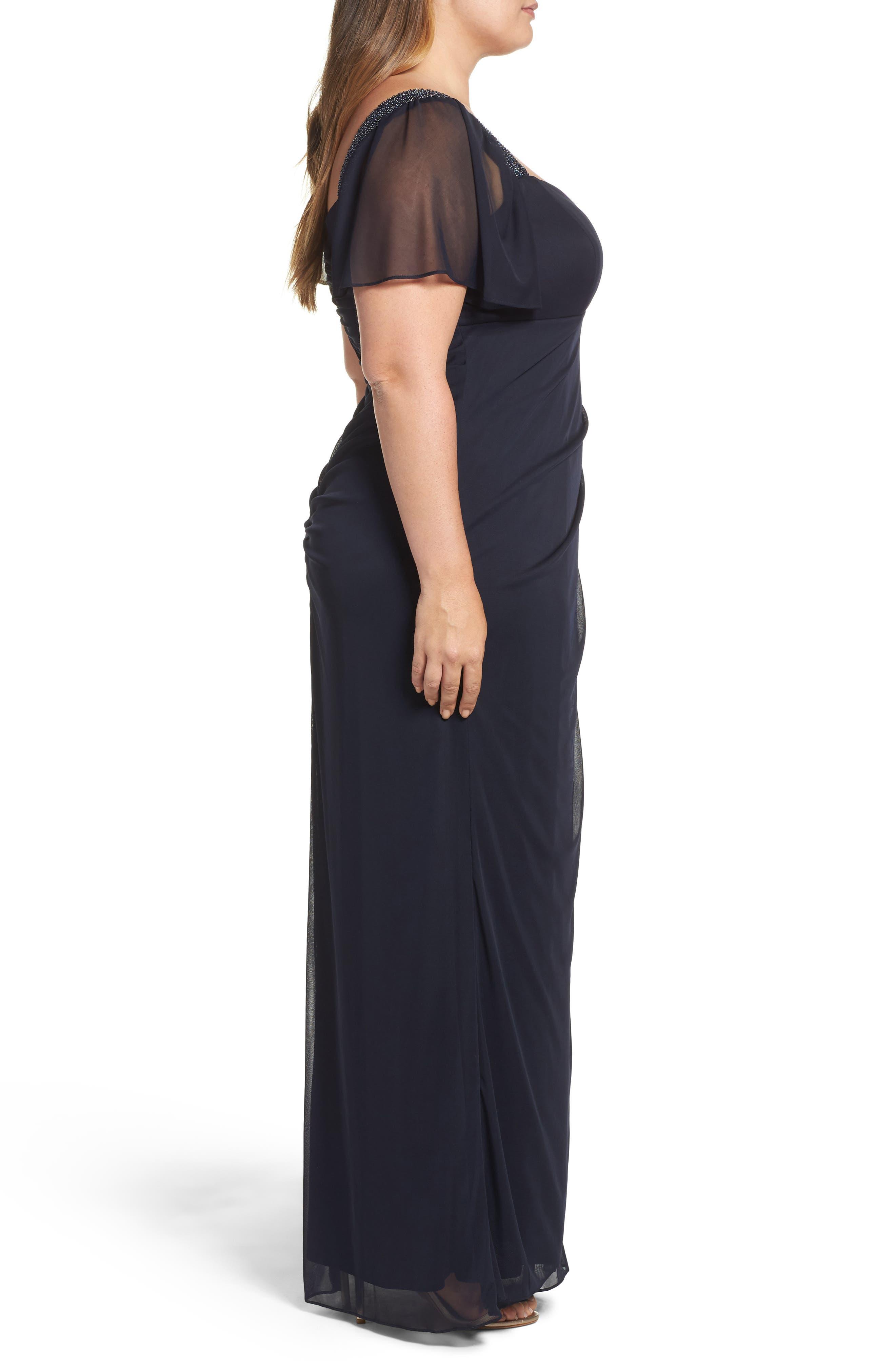 Alternate Image 3  - Xscape Embellished Side Pleat Gown (Plus Size)