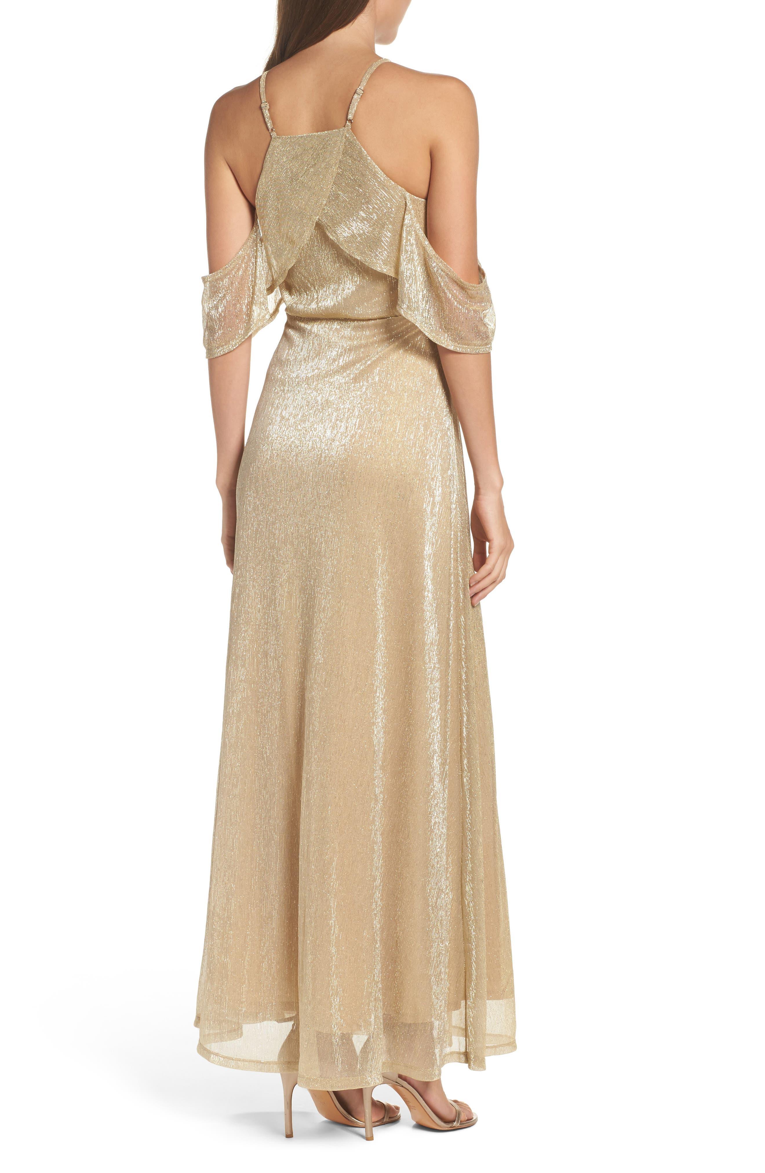 Cold Shoulder Gown,                             Alternate thumbnail 2, color,                             Gold