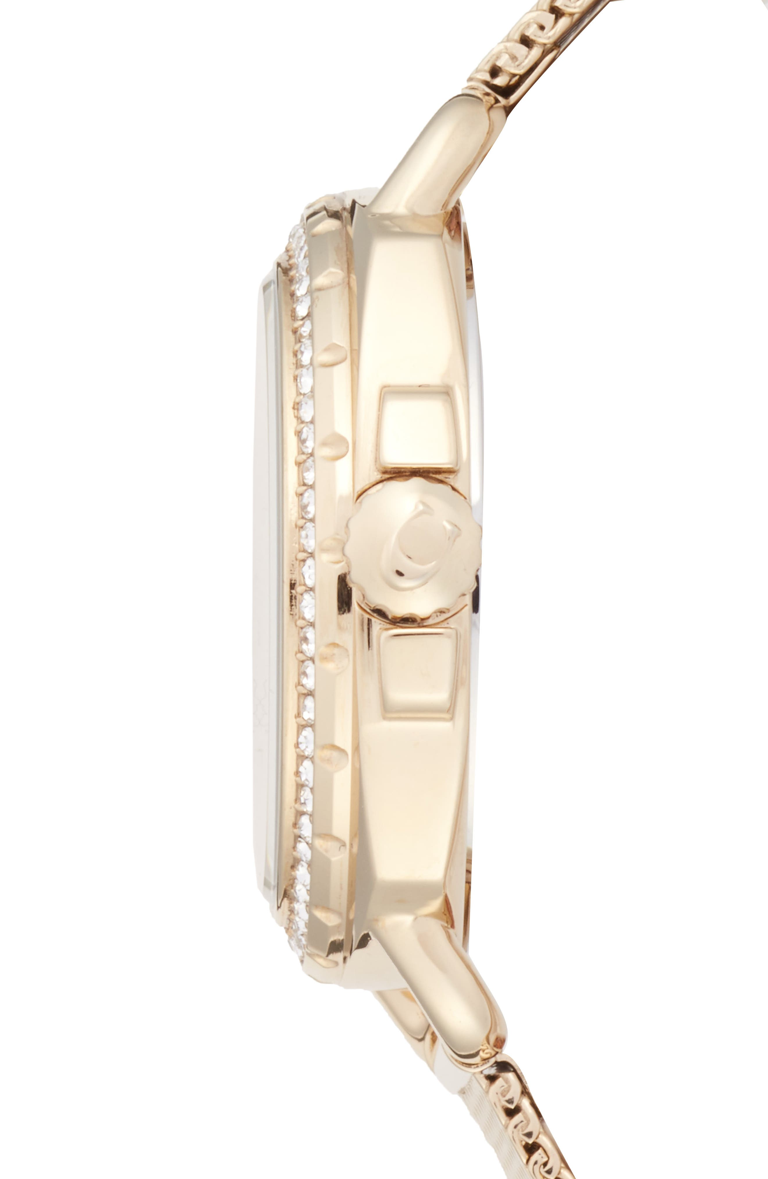 Tatum Crystal Mesh Strap Watch, 35mm,                             Alternate thumbnail 3, color,                             Gold