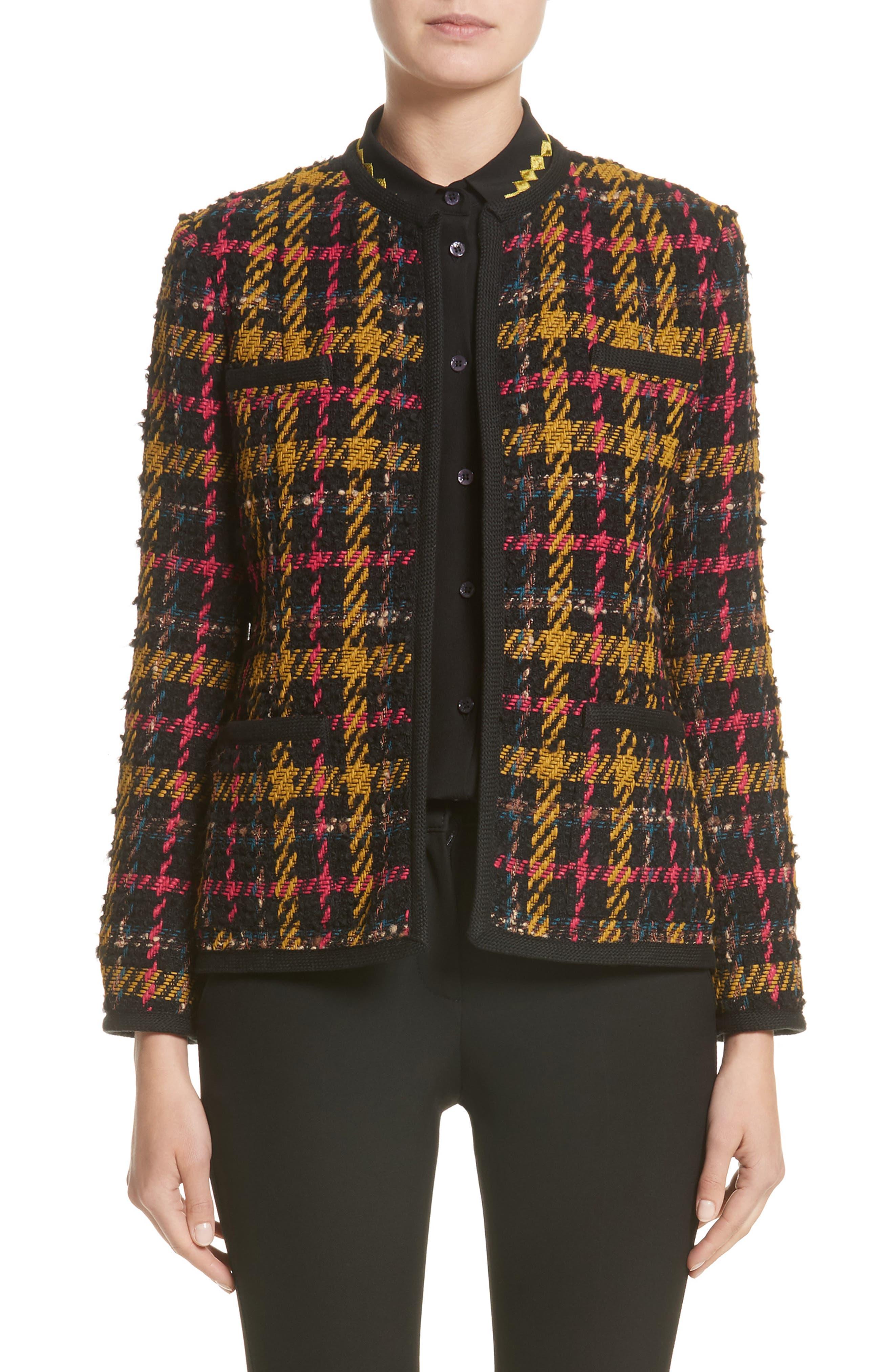 Plaid Jacket,                         Main,                         color, Black