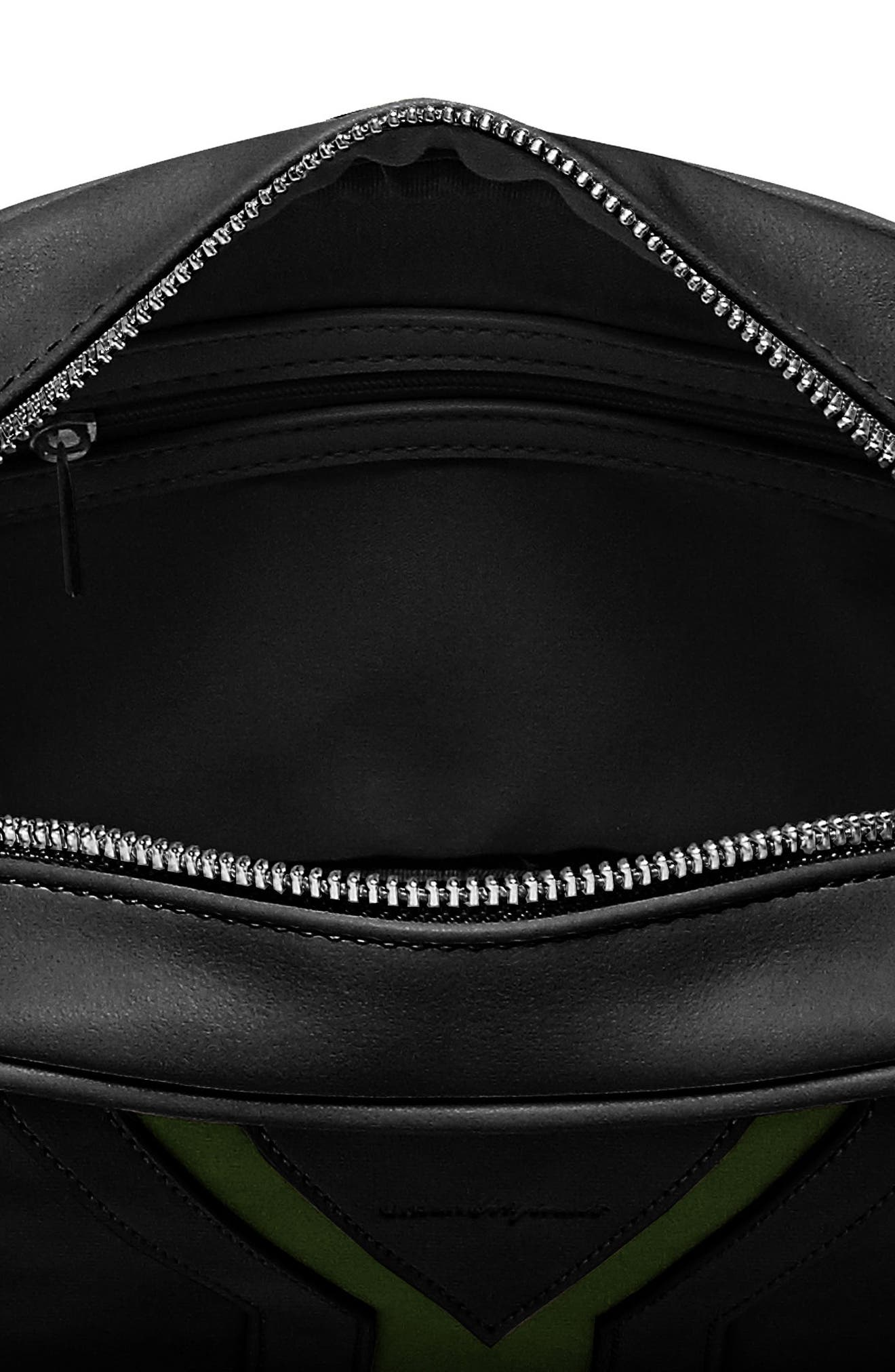 Late Night Vegan Leather Crossbody Bag,                             Alternate thumbnail 3, color,                             Black/ Green