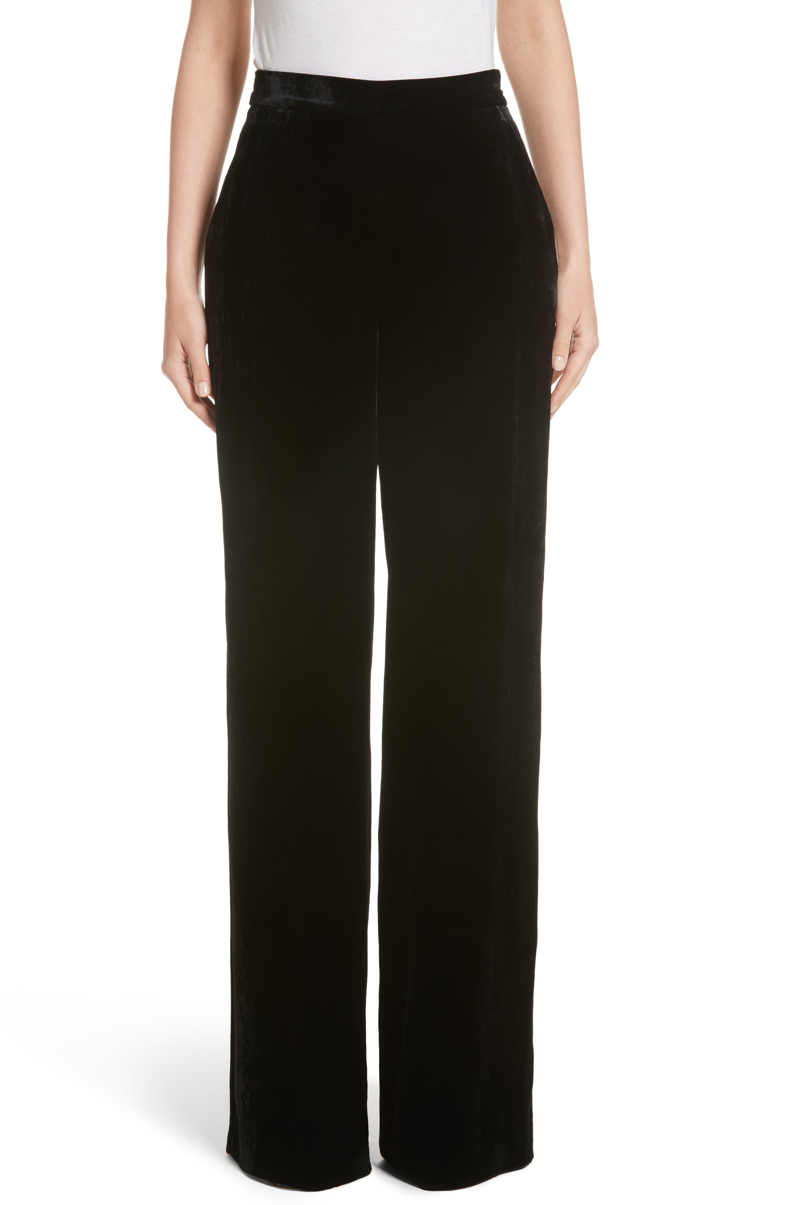 Velvet Wide Leg Pants,                         Main,                         color, Black