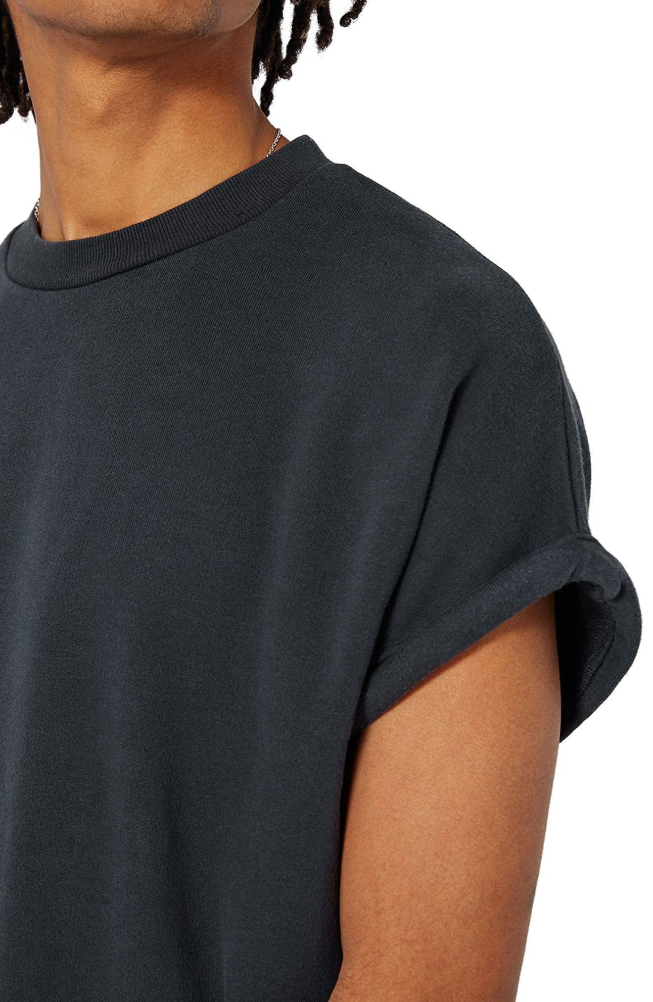 Short Sleeve Sweatshirt,                             Alternate thumbnail 4, color,                             Washed Black