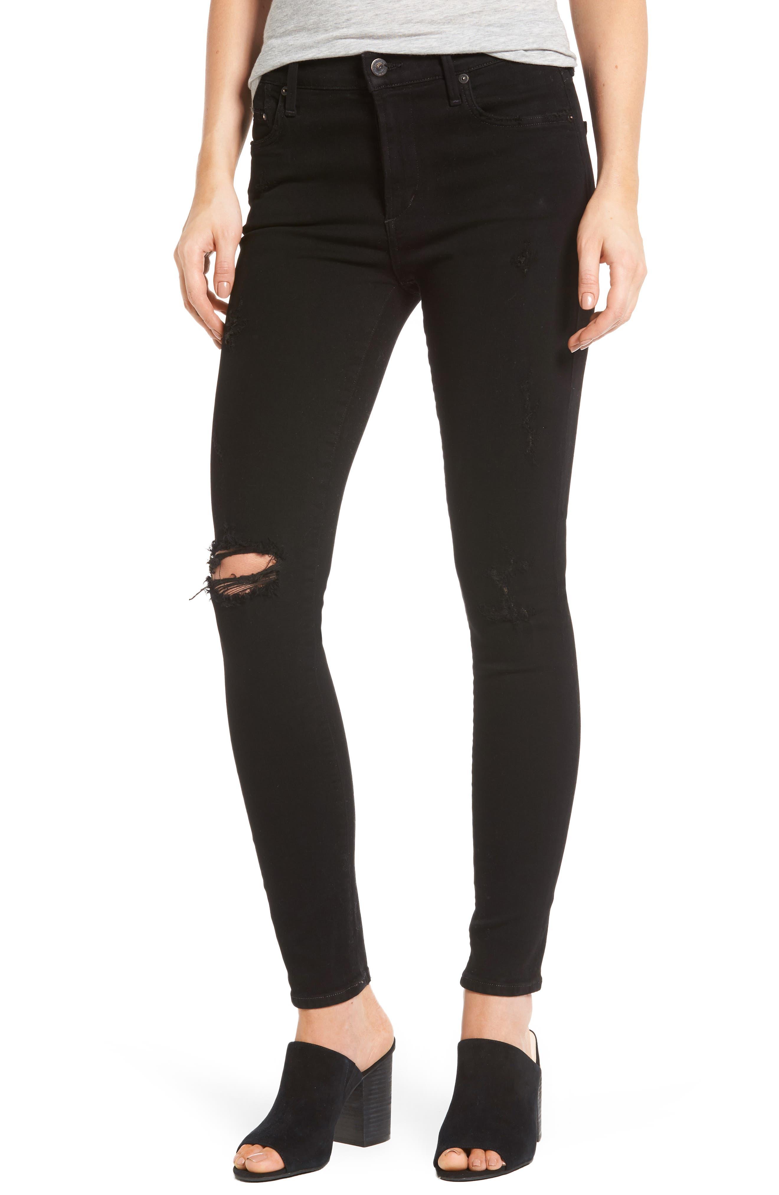 Rocket High Waist Skinny Jeans,                         Main,                         color, Black Echoes