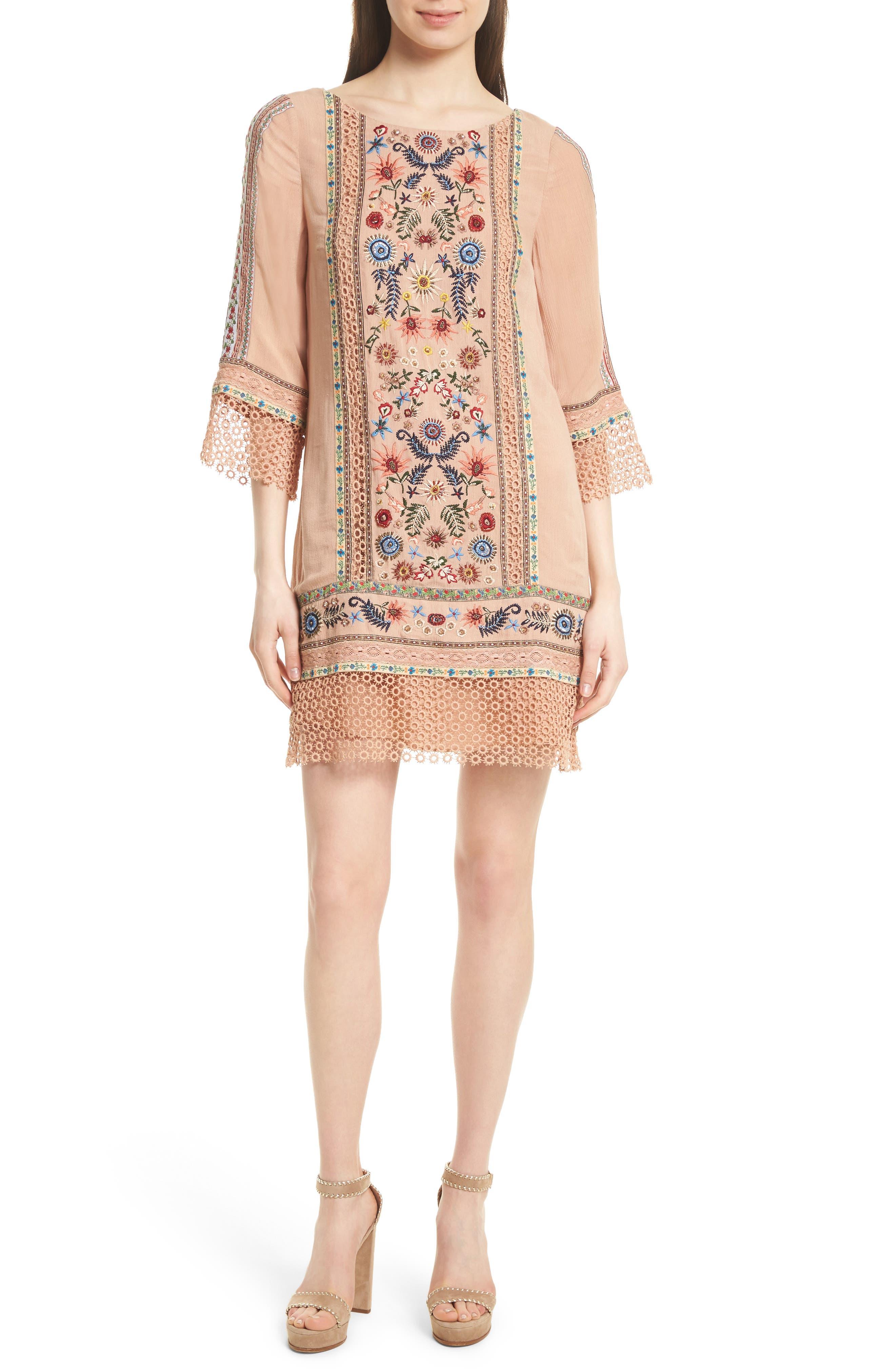 Main Image - Alice + Olivia Gabriel Embroidered Tunic Dress