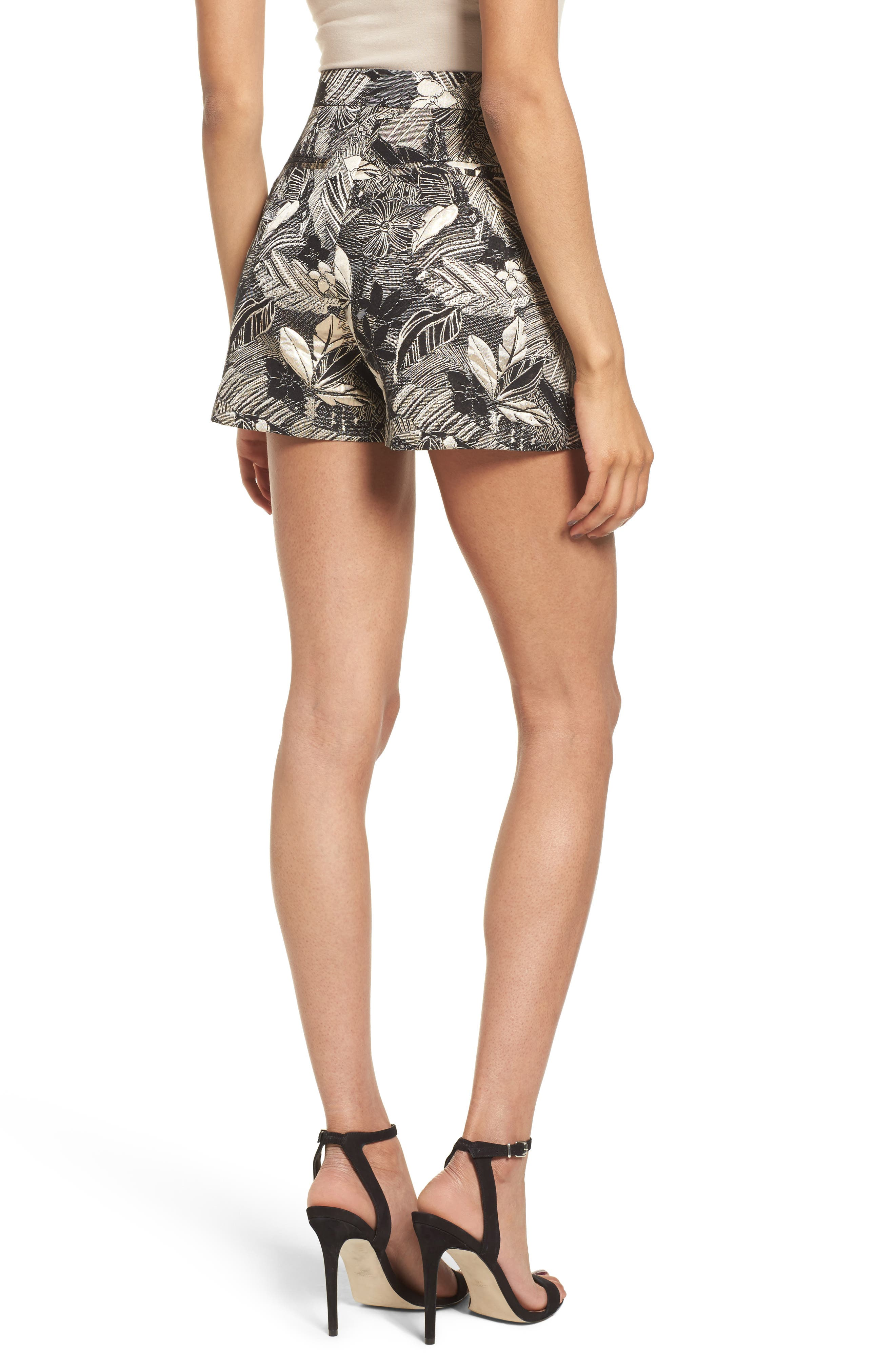 High Waist Jacquard Shorts,                             Alternate thumbnail 2, color,                             Black Mixed Floral