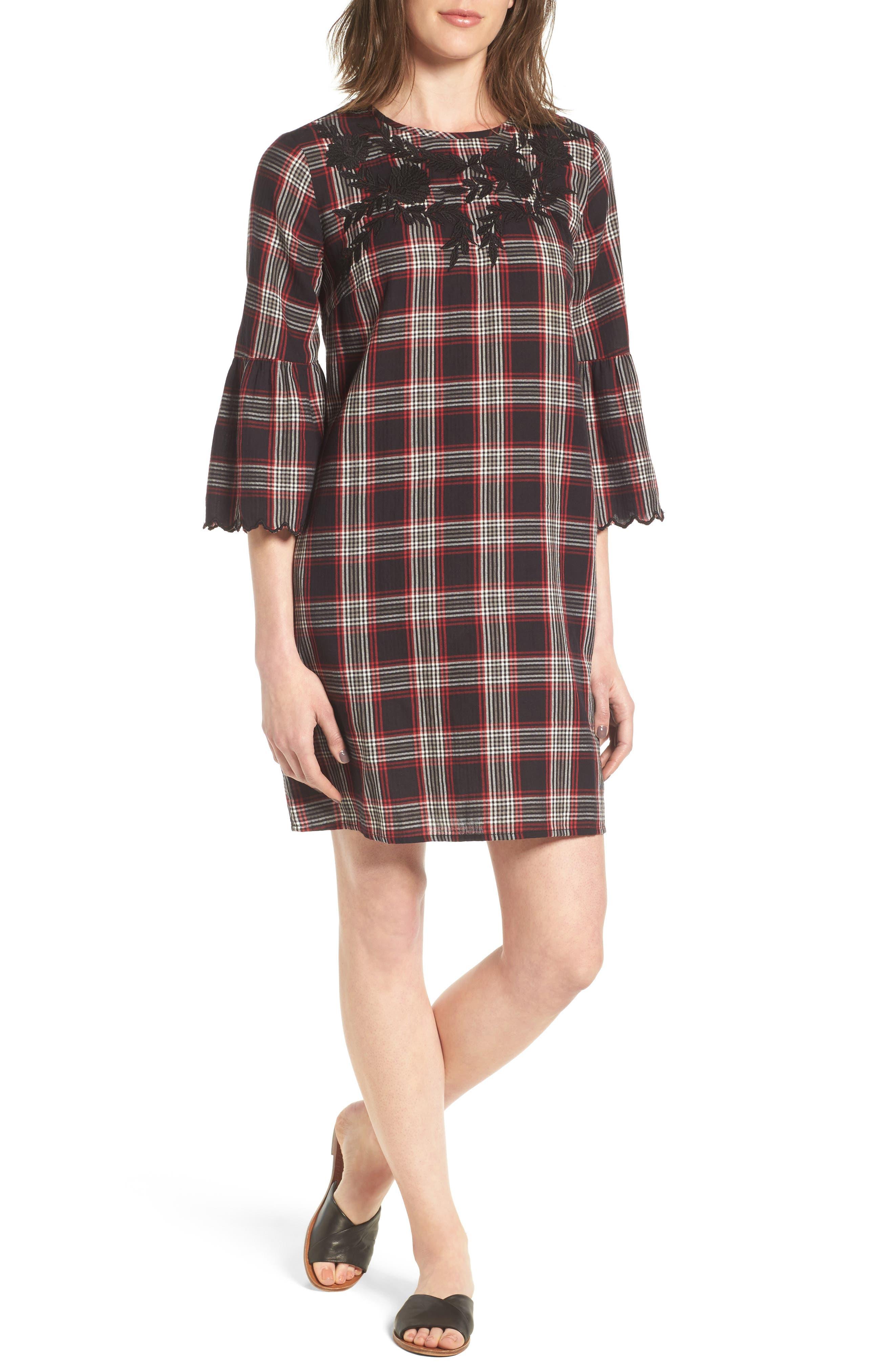 Alternate Image 1 Selected - Caslon® Bell Sleeve Plaid Shift Dress