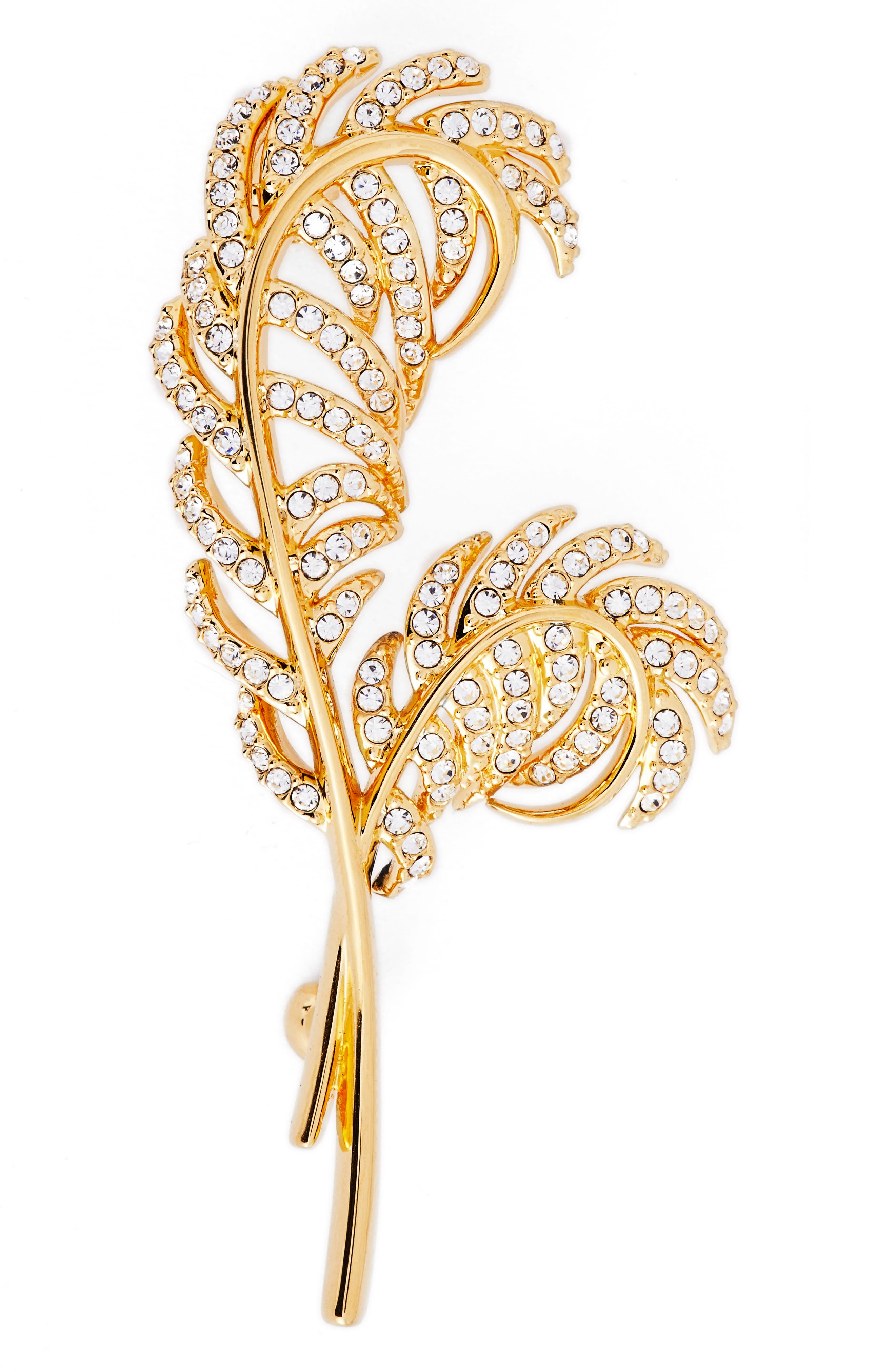Pavé Double Feather Pin,                             Main thumbnail 1, color,                             Gold