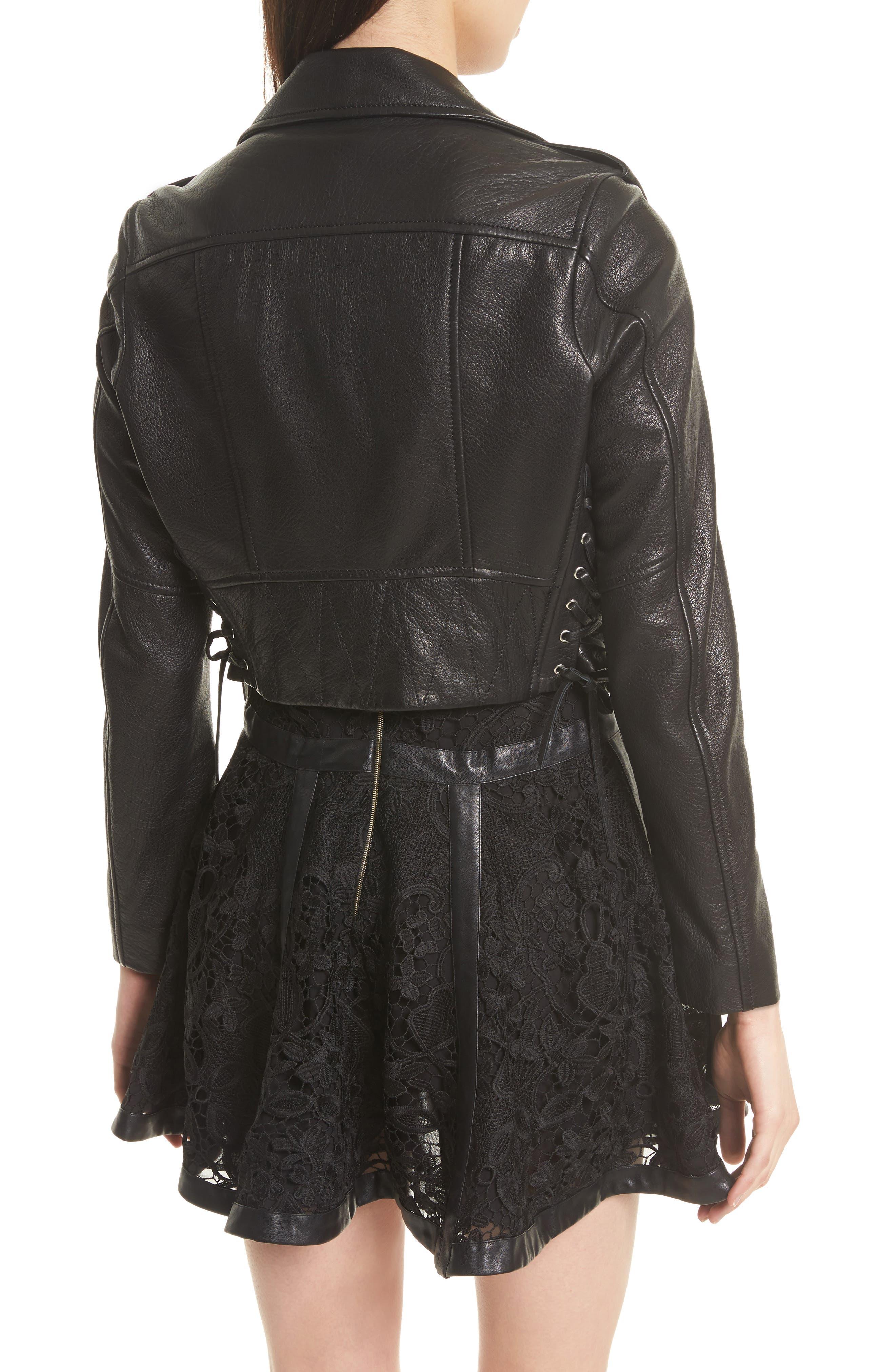 Lace-Up Lambskin Leather Jacket,                             Alternate thumbnail 3, color,                             Black