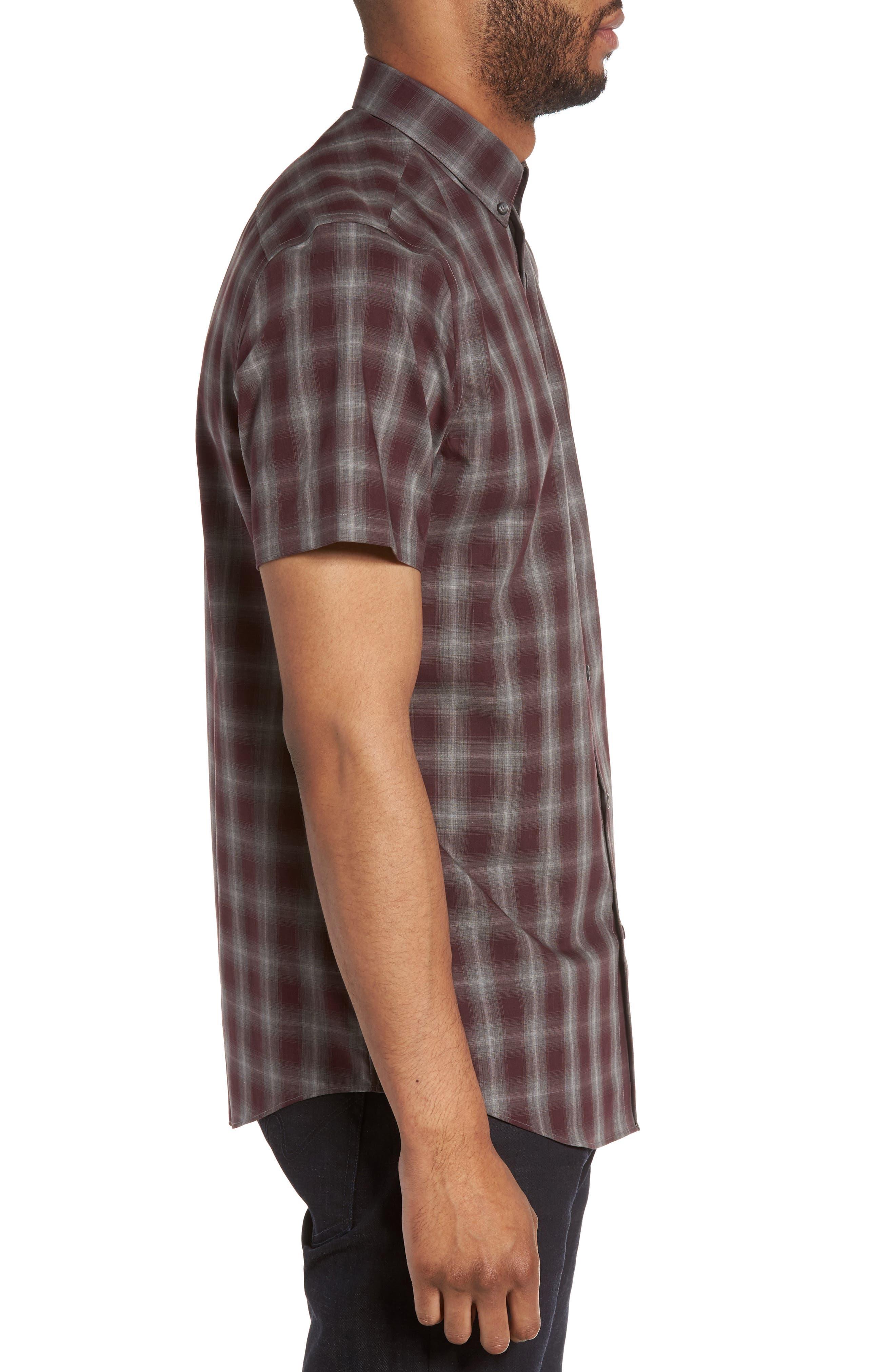 Plaid Non-Iron Sport Shirt,                             Alternate thumbnail 3, color,                             Burgundy Stem Gradient Check
