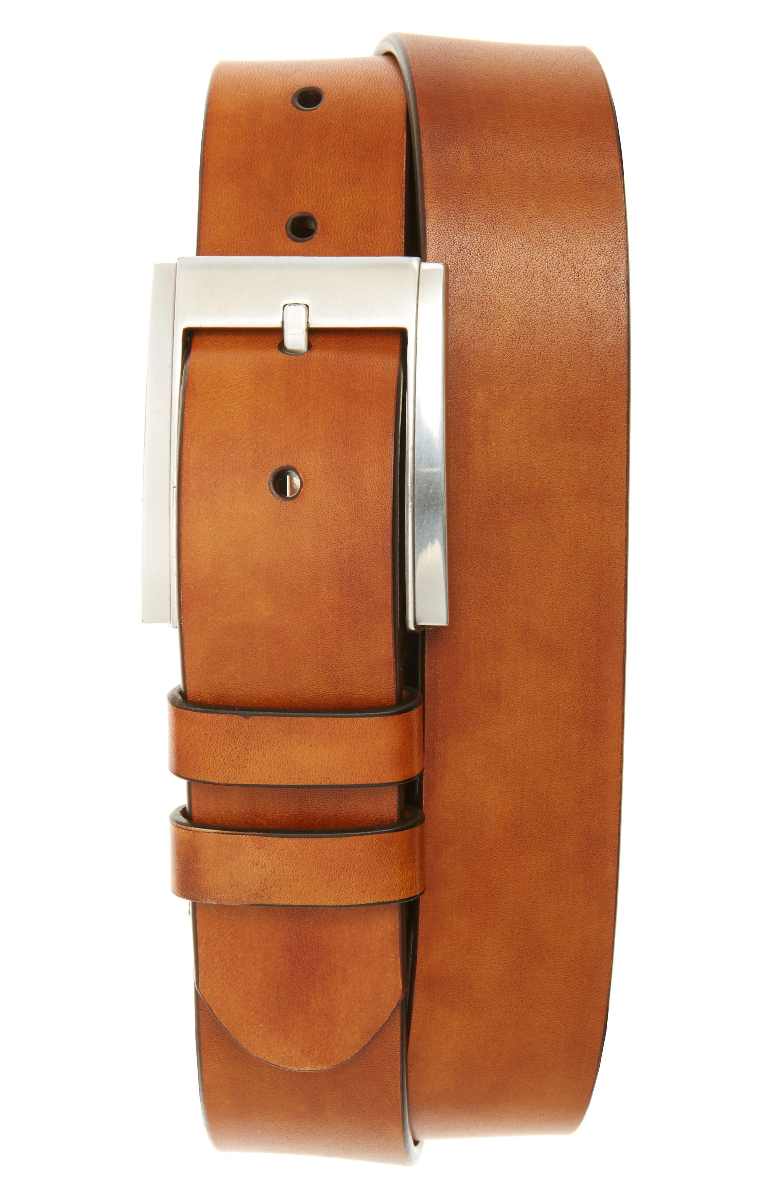 Hand Antiqued Leather Belt,                             Main thumbnail 1, color,                             Cognac