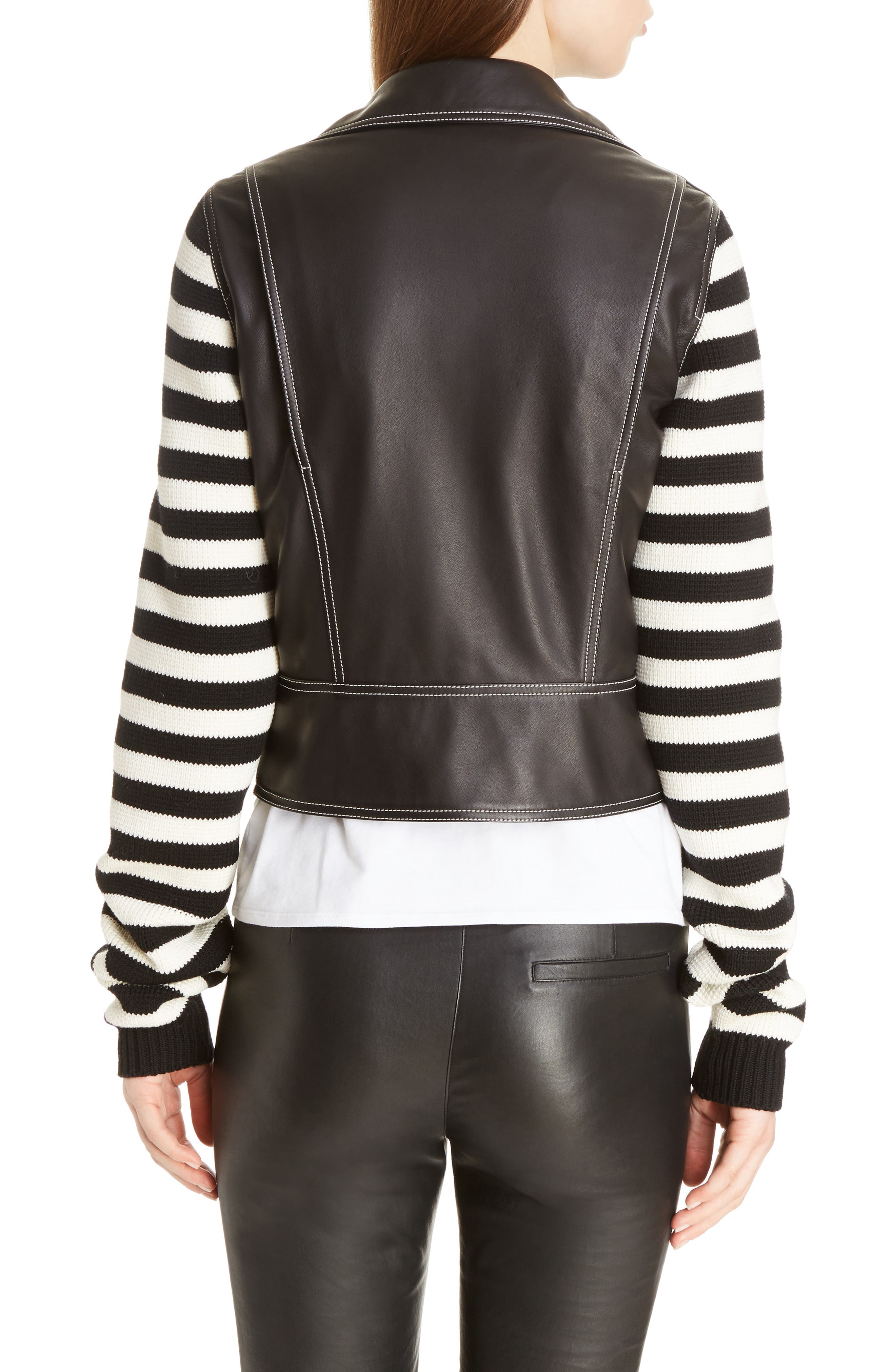 Alternate Image 2  - Loewe Stripe Knit & Leather Biker Jacket