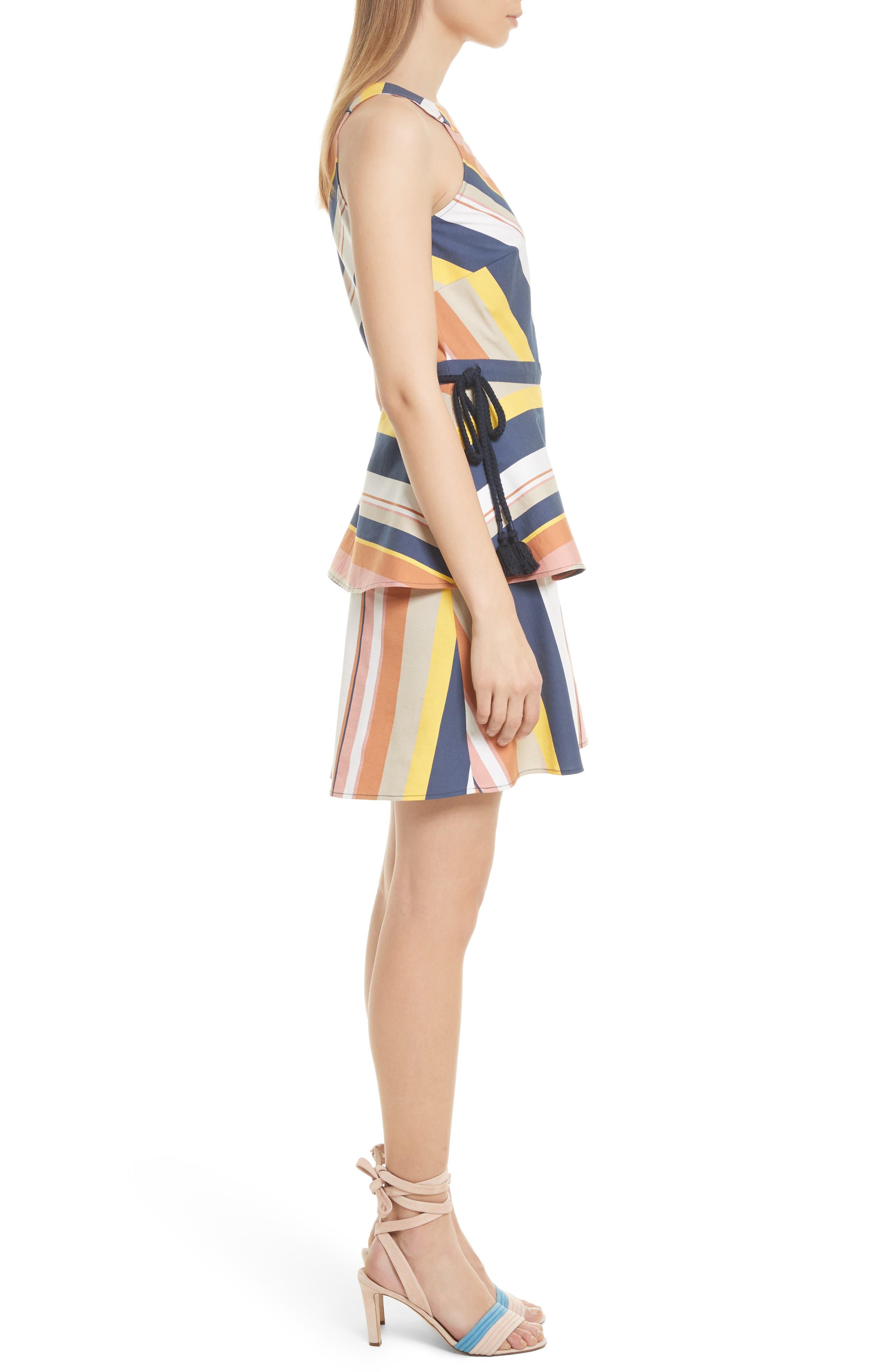 Noemi Stripe Dress,                             Alternate thumbnail 3, color,                             Rust Multi