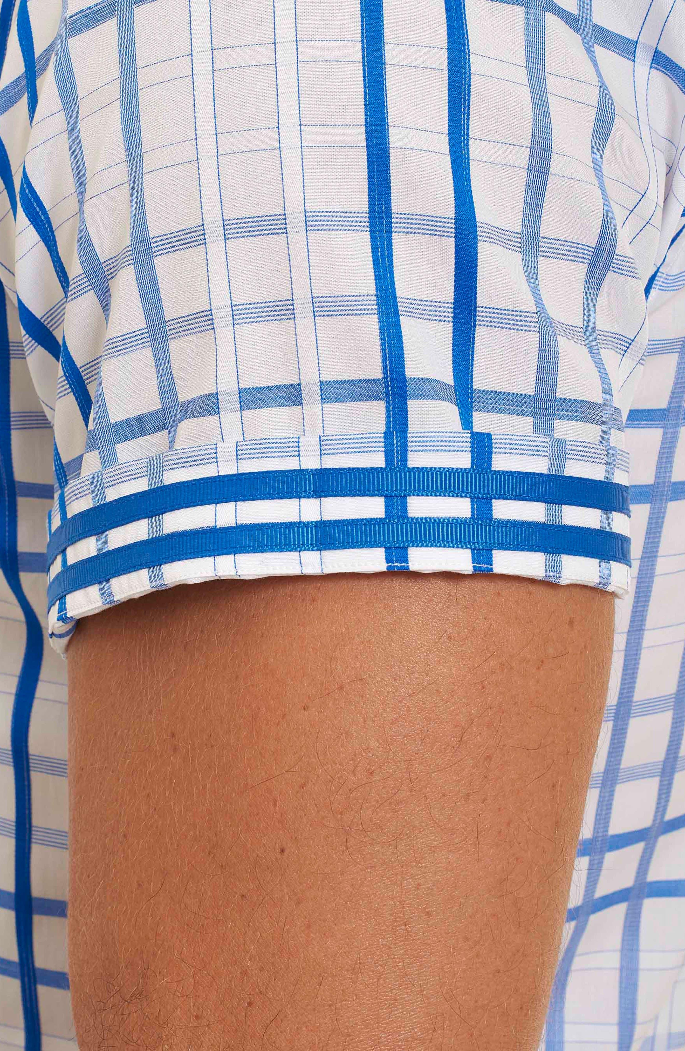Dax Tailored Fit Check Short Sleeve Linen Sport Shirt,                             Alternate thumbnail 4, color,                             Blue