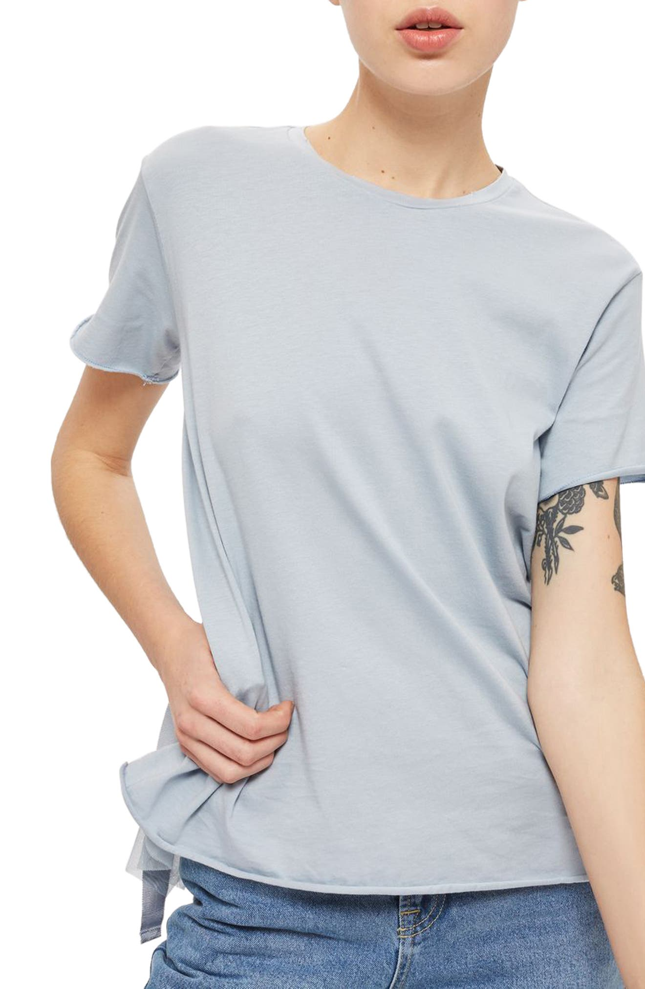 Alternate Image 1 Selected - Topshop Tulle Back Tee