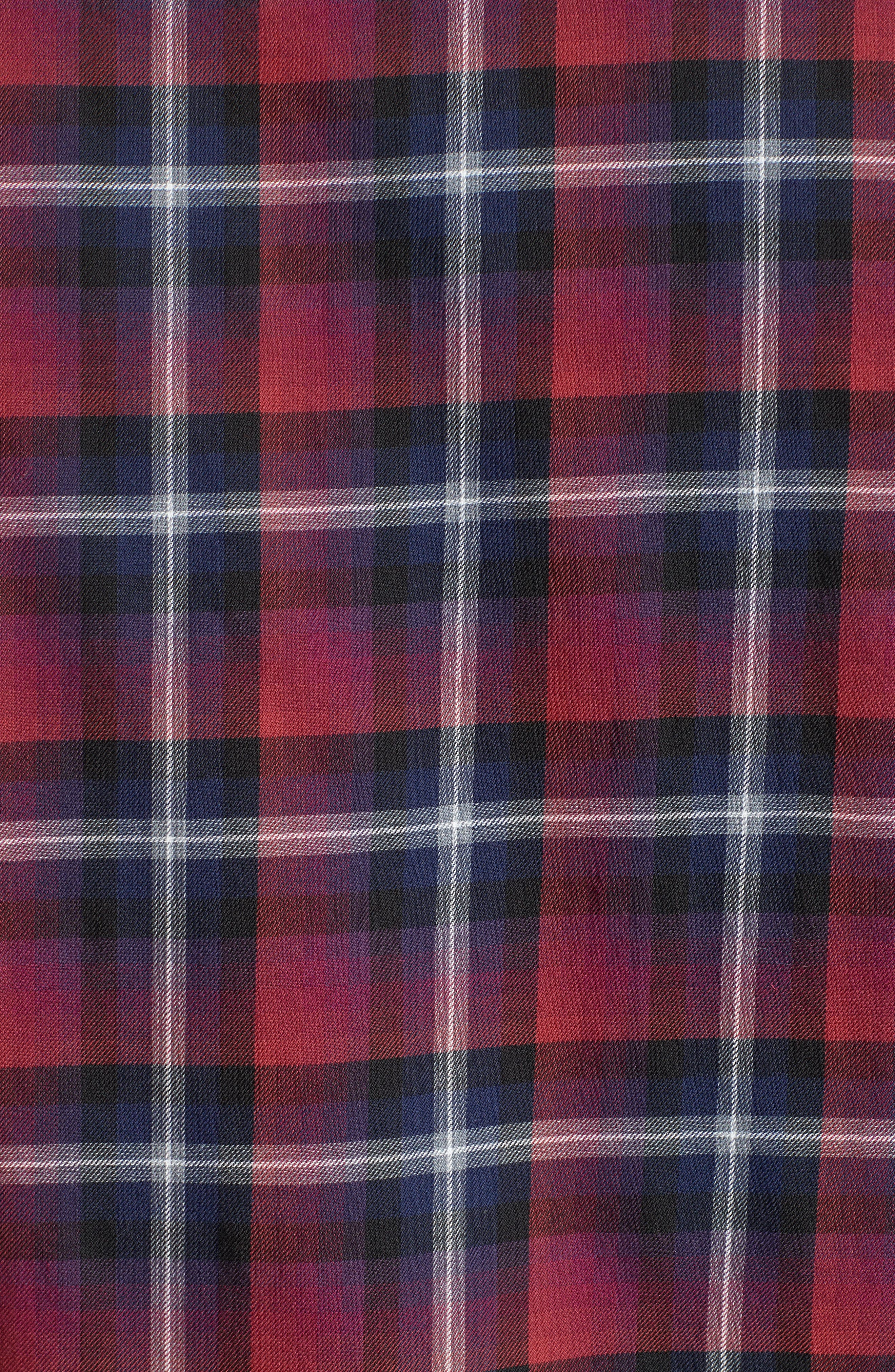 Contrast Piping Plaid Sport Shirt,                             Alternate thumbnail 5, color,                             Red