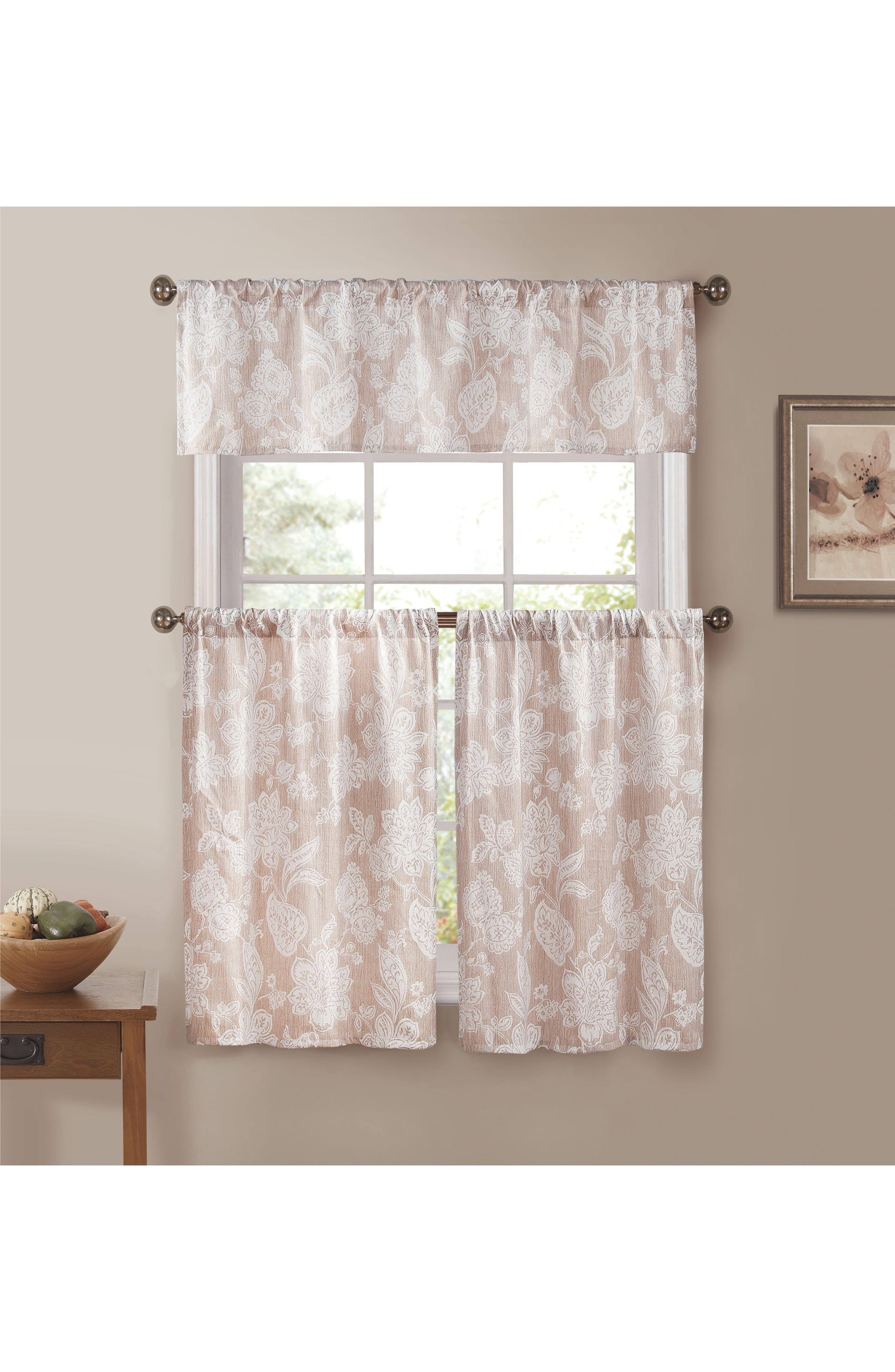 Ewva Set of 3 Tiered Jacquard Small Pole Top Window Panels,                             Main thumbnail 1, color,                             Taupe
