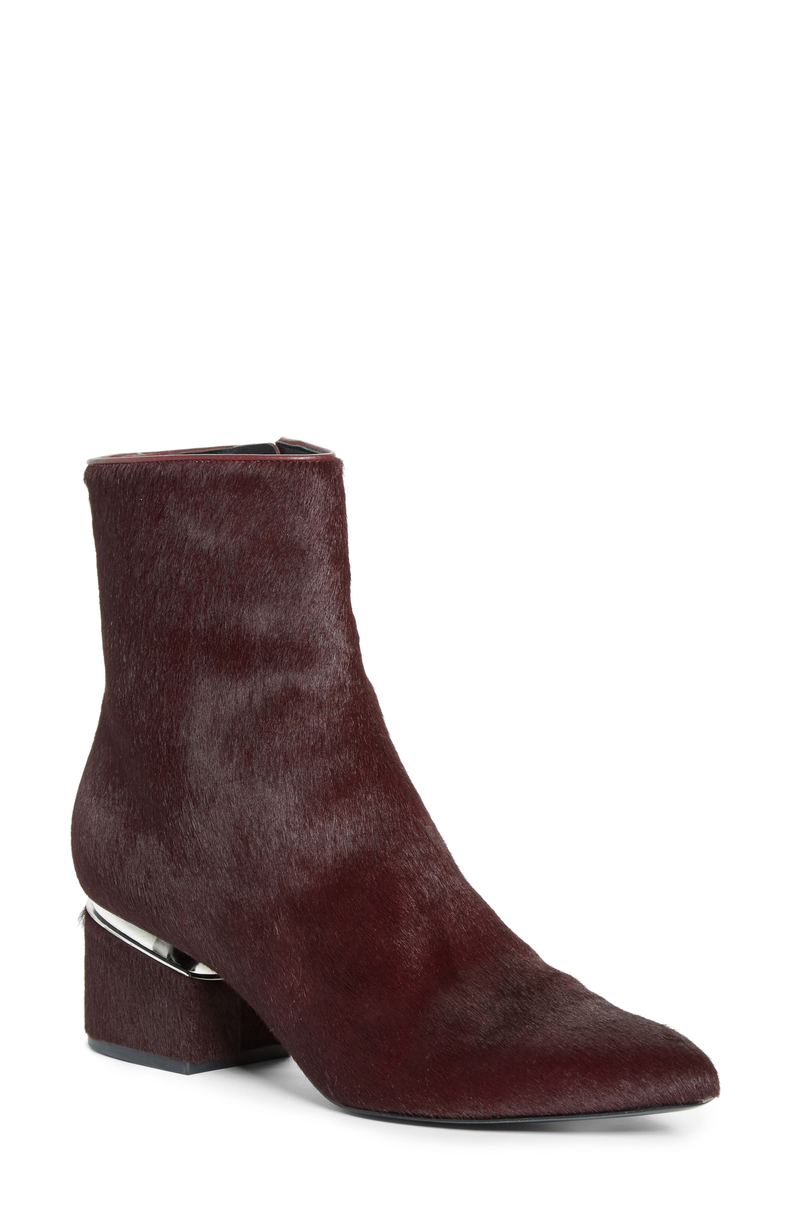 Jude Genuine Calf Hair Bootie,                             Main thumbnail 1, color,                             Burgundy Leather