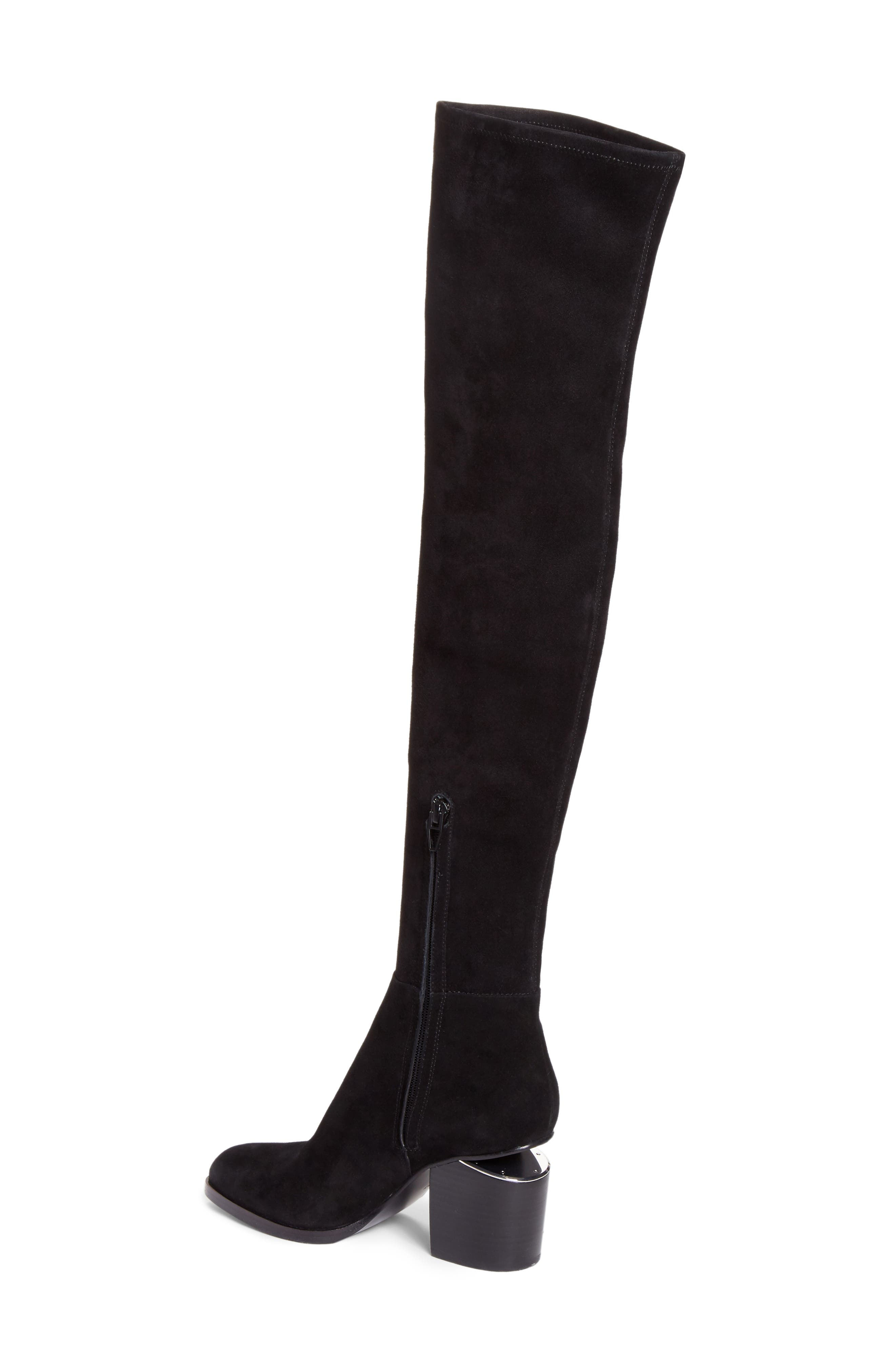 Gabi Over the Knee Boot,                             Alternate thumbnail 2, color,                             Black Suede