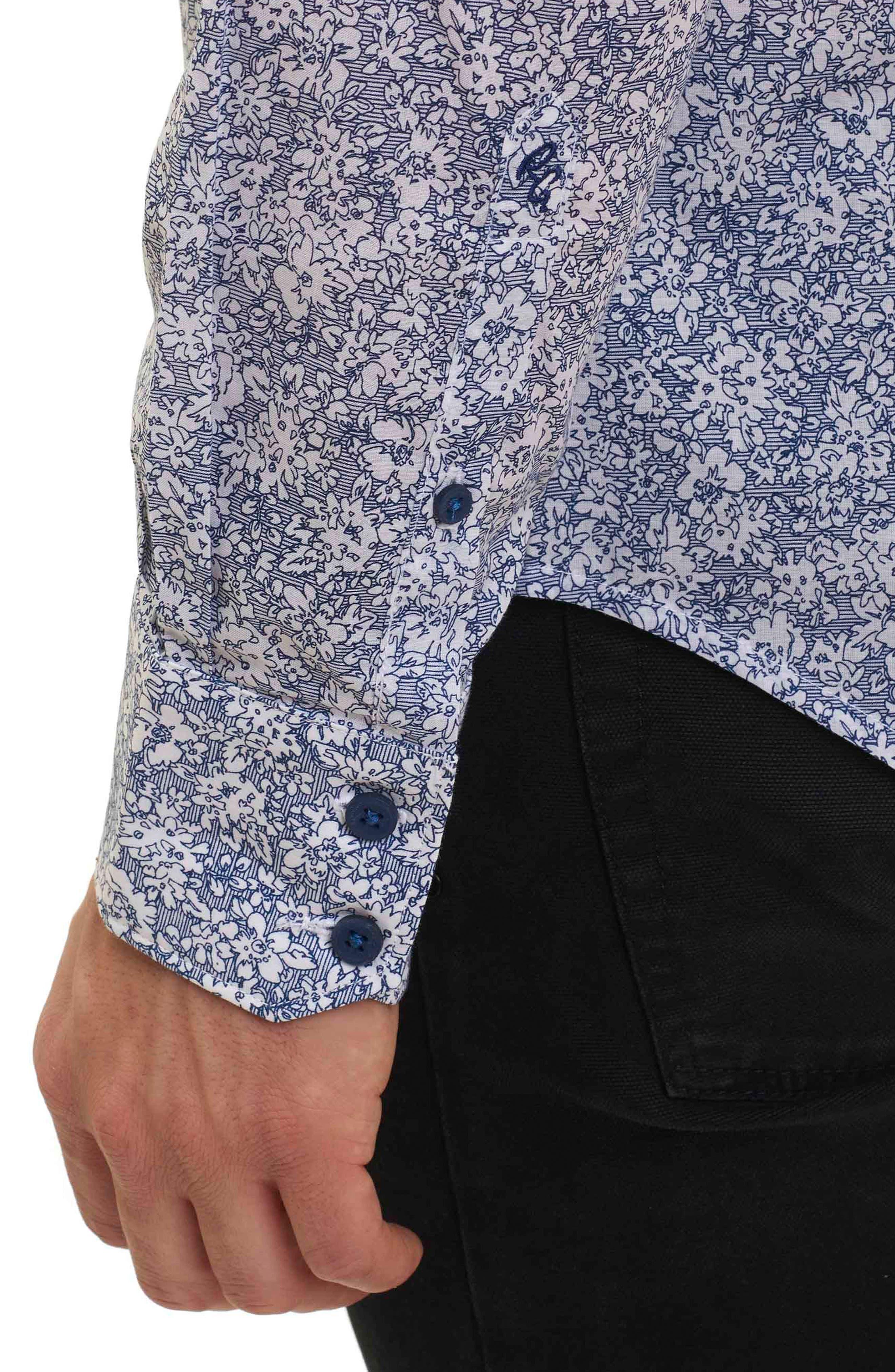 Alternate Image 4  - Robert Graham Moss Landing Classic Fit Floral Print Sport Shirt