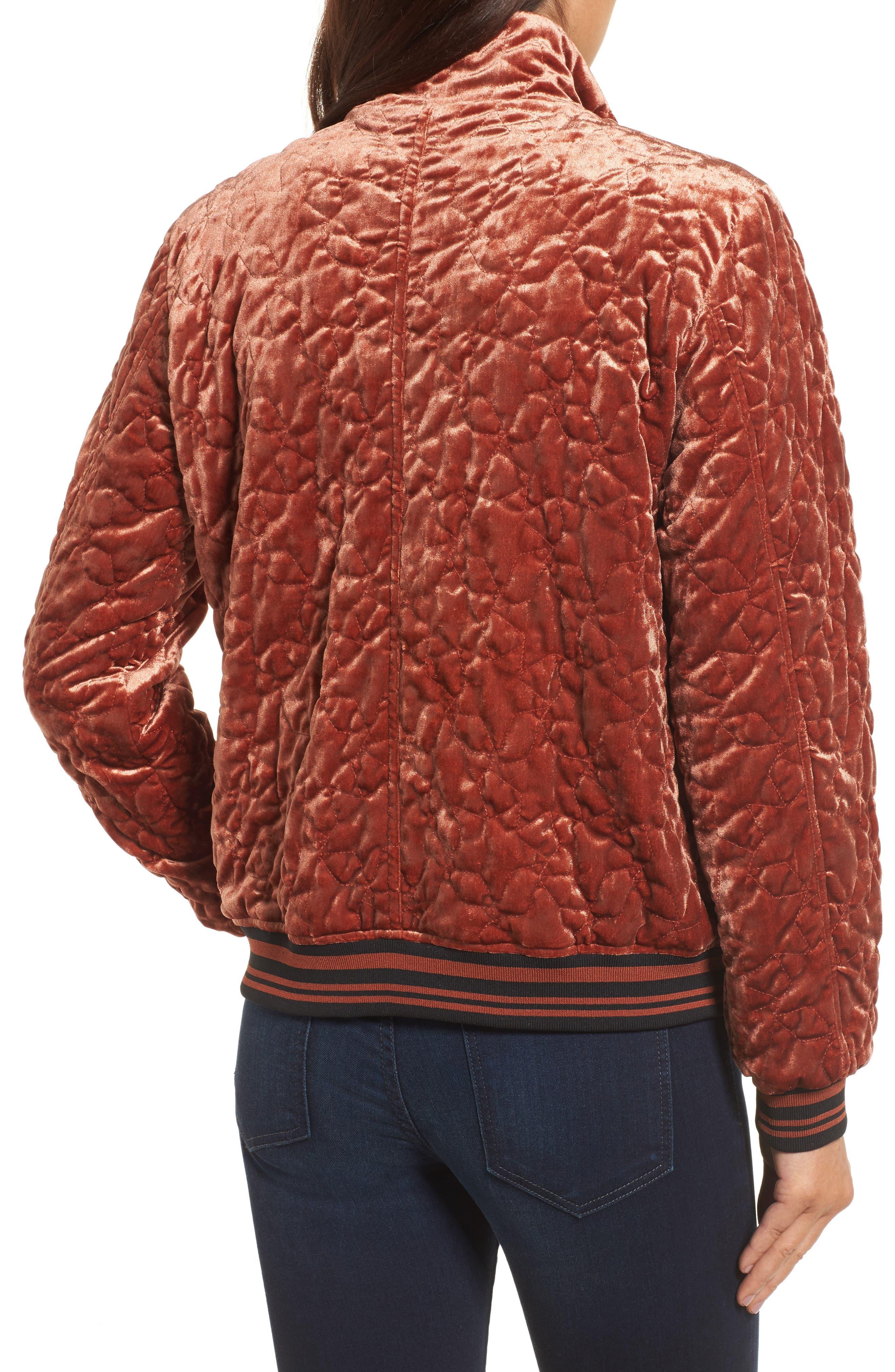 Alternate Image 3  - Bernardo Quilted Velvet Bomber Jacket (Regular & Petite)