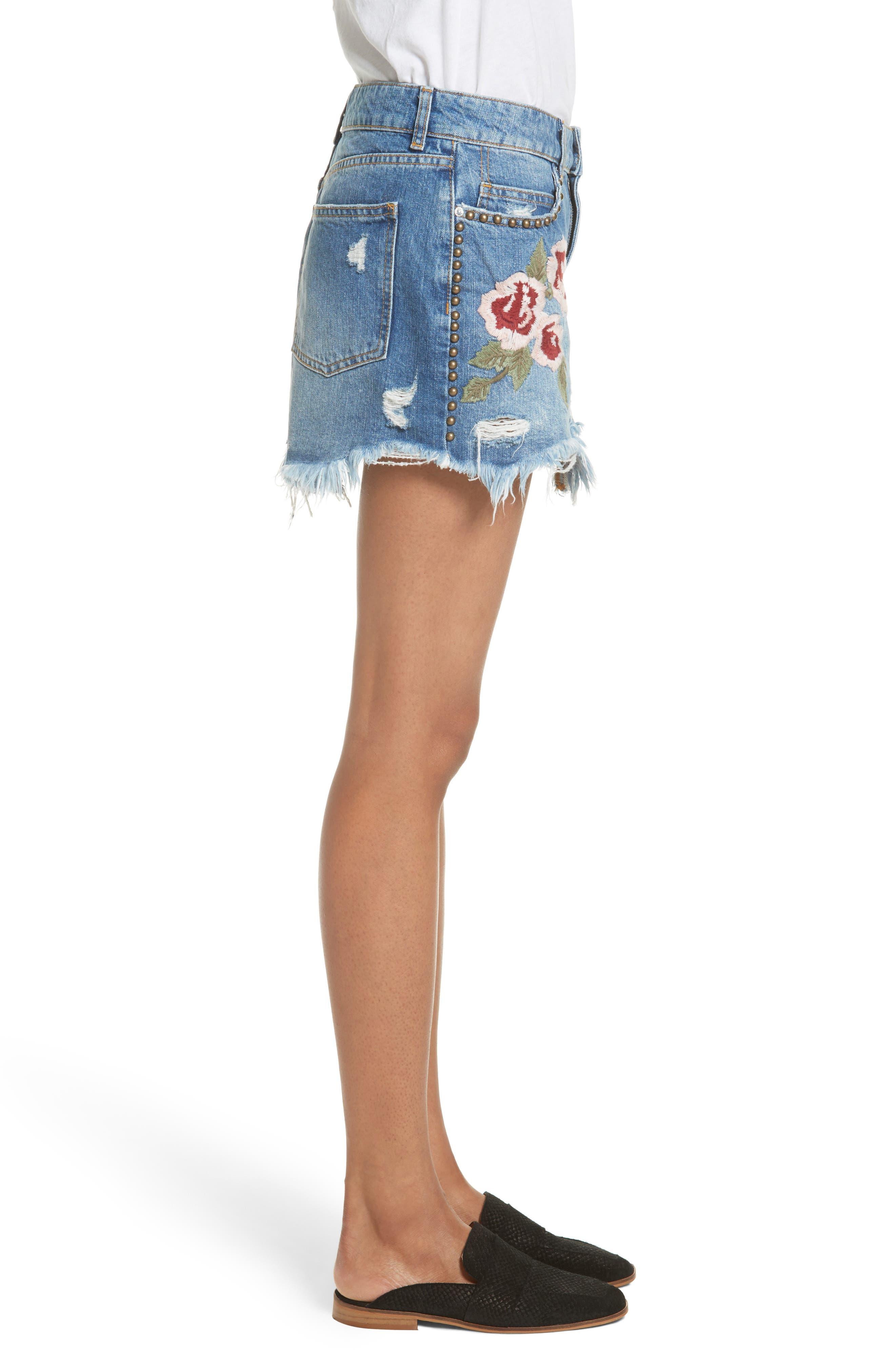 Wild Rose Embroidered Miniskirt,                             Alternate thumbnail 3, color,                             Light Denim