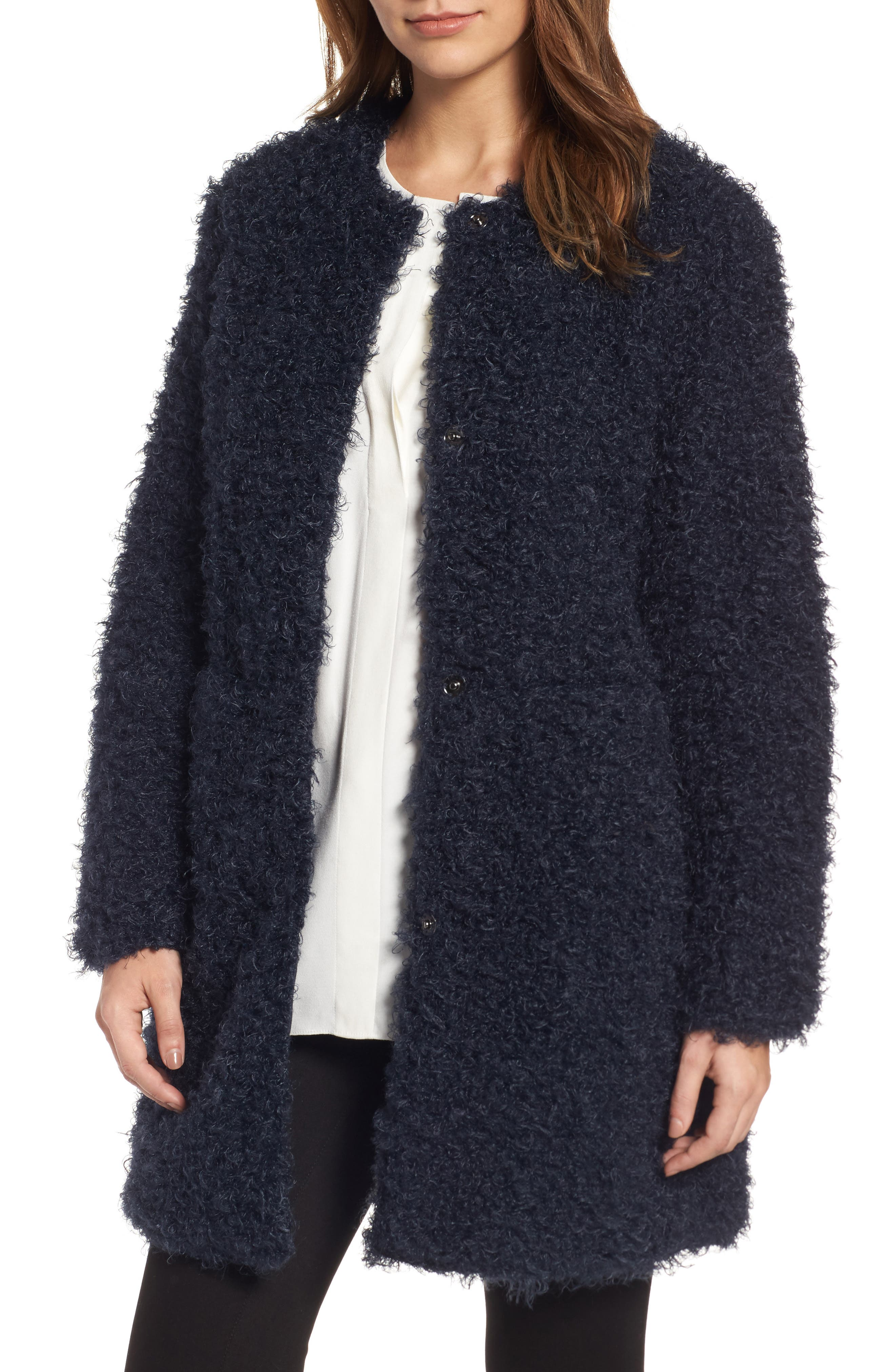 Reversible Faux Fur Coat,                         Main,                         color, Navy