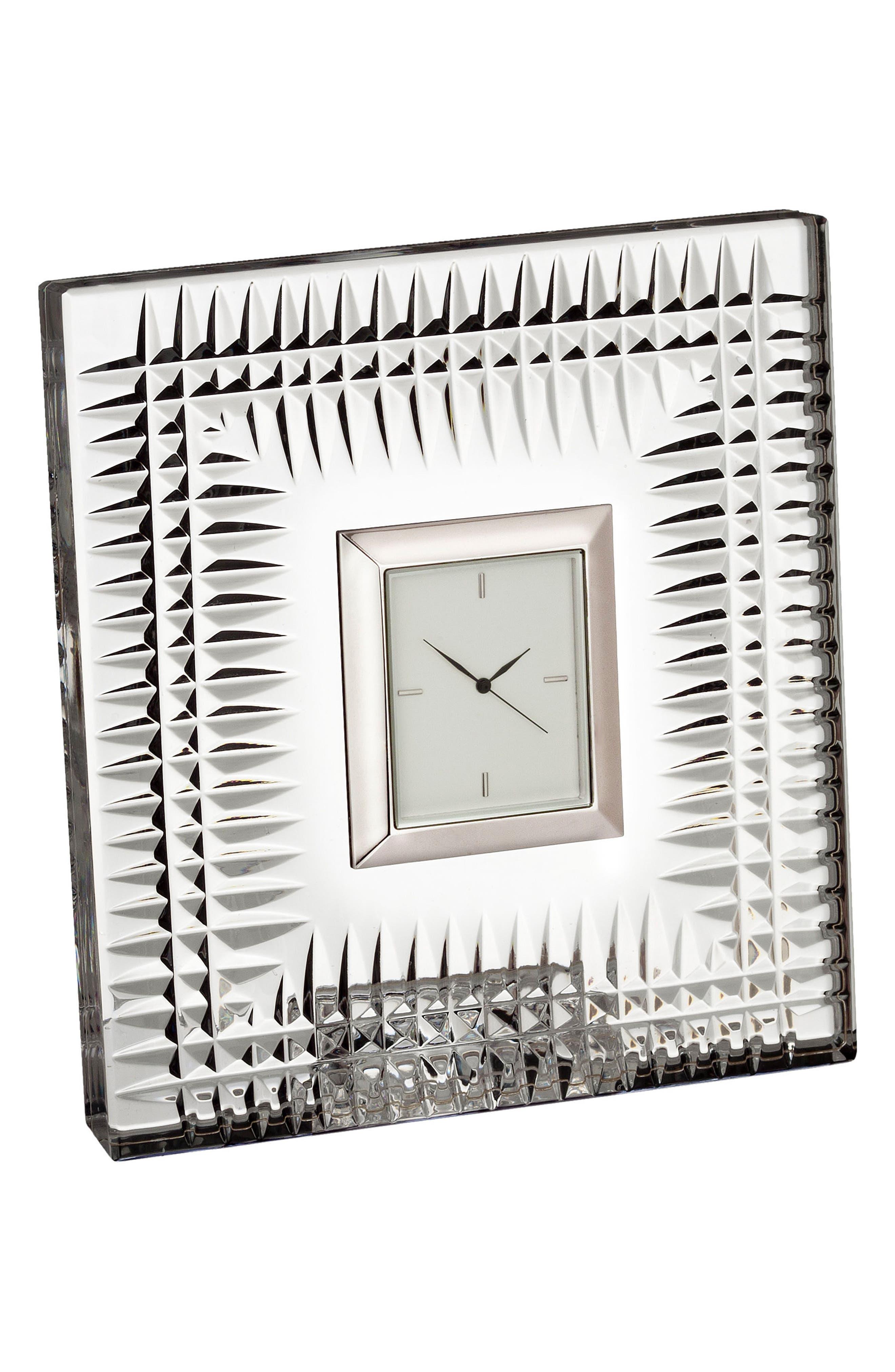 Lismore Diamond Crystal Clock,                             Main thumbnail 1, color,                             Crystal