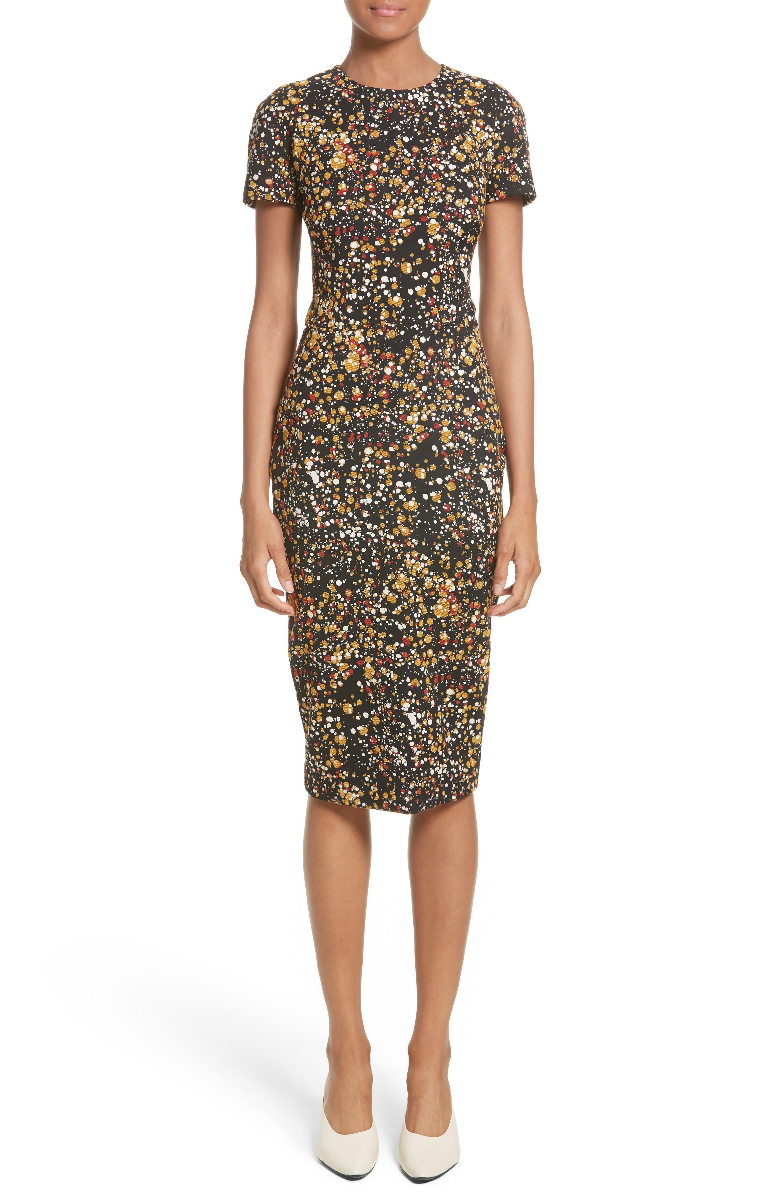 Marble Jacquard Dress,                         Main,                         color, Black/ Mustard/ Orange