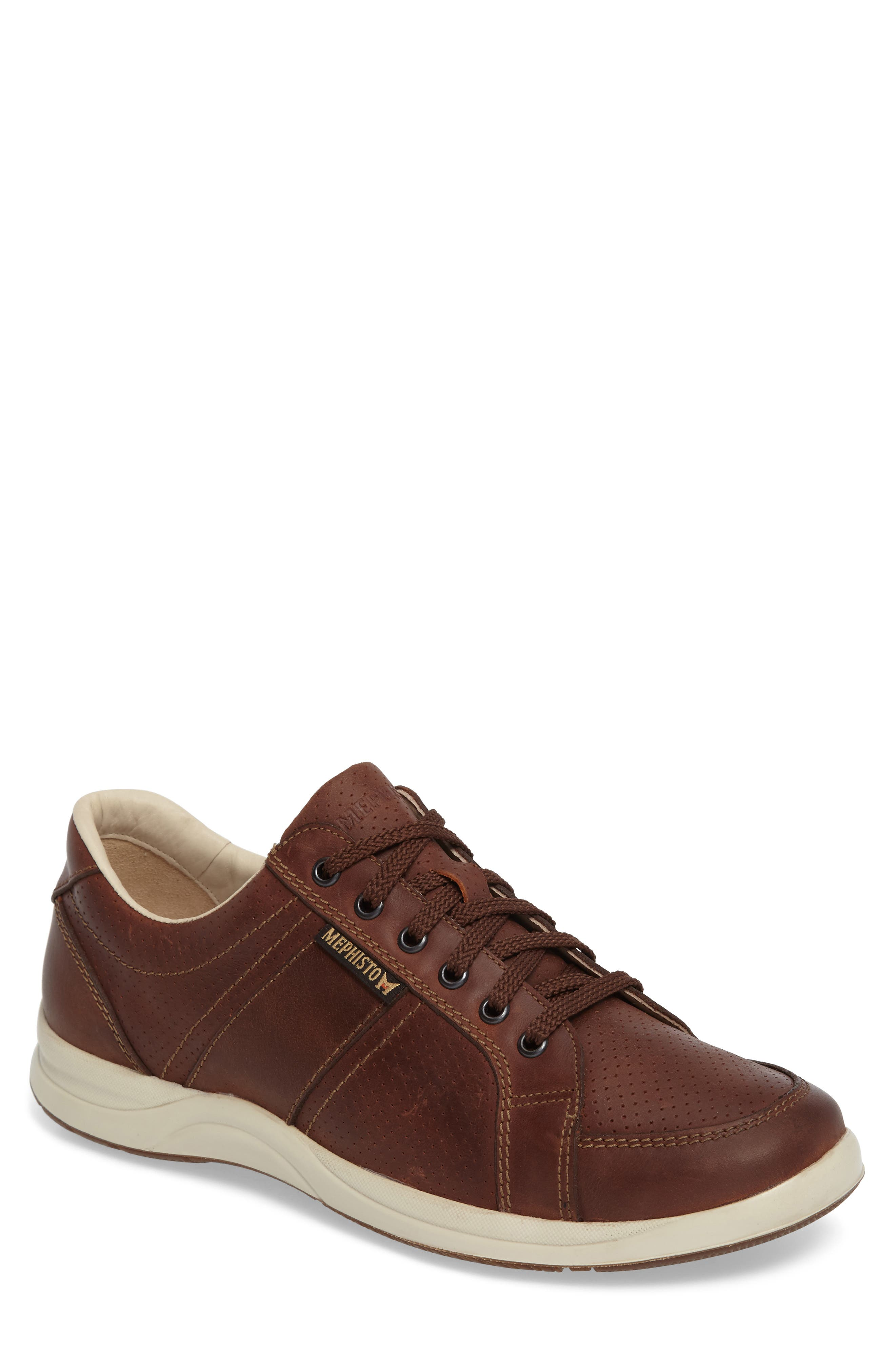 'Hero' Perforated Sneaker,                             Main thumbnail 1, color,                             Chestnut Nubuck Leather