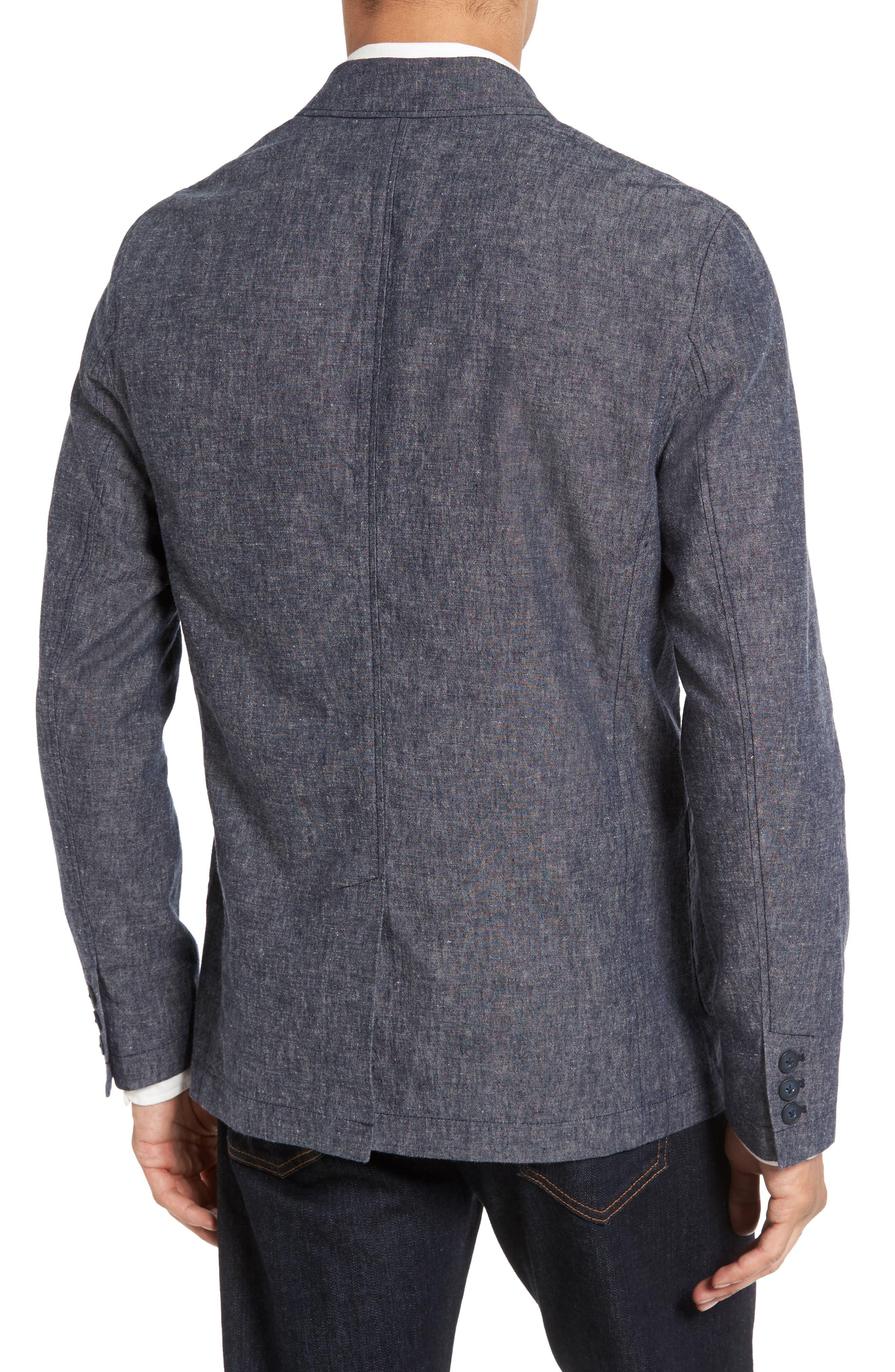 Trunnel Slim Fit Linen Blend Blazer,                             Alternate thumbnail 2, color,                             Night Sea