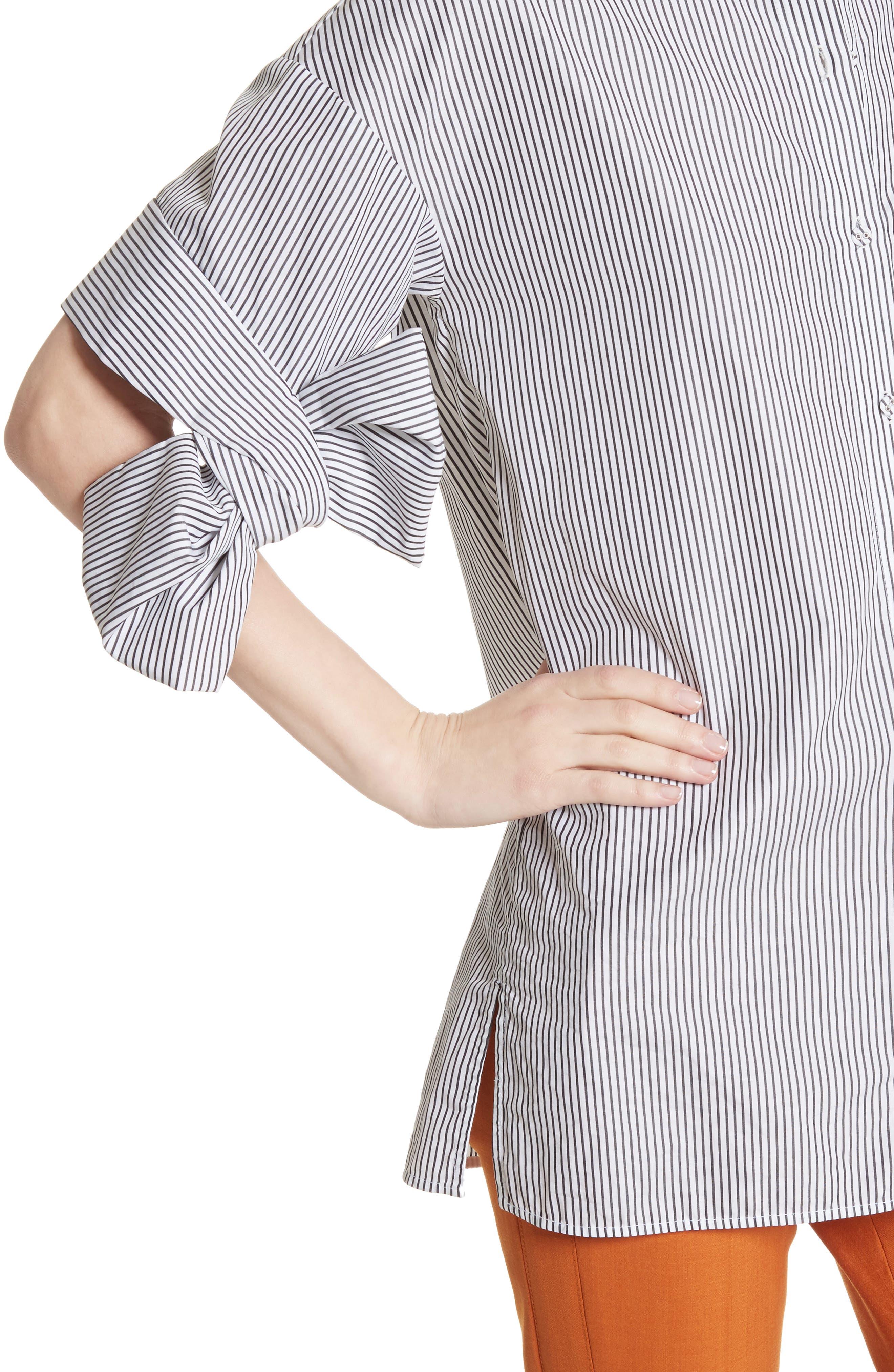 Bow Sleeve Shirt,                             Alternate thumbnail 4, color,                             Black/ White