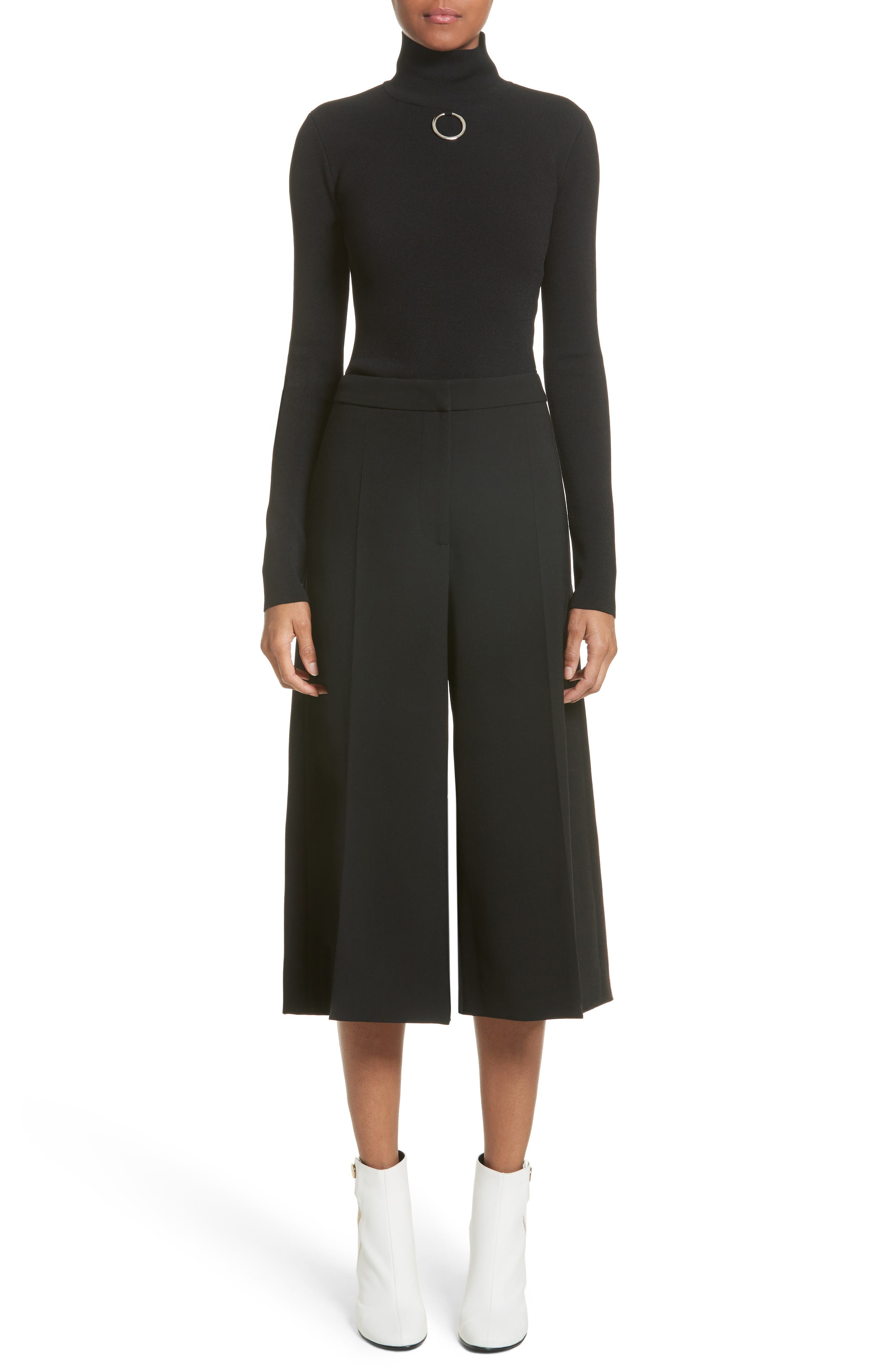 Stretch Wool Culottes,                             Alternate thumbnail 7, color,                             Black