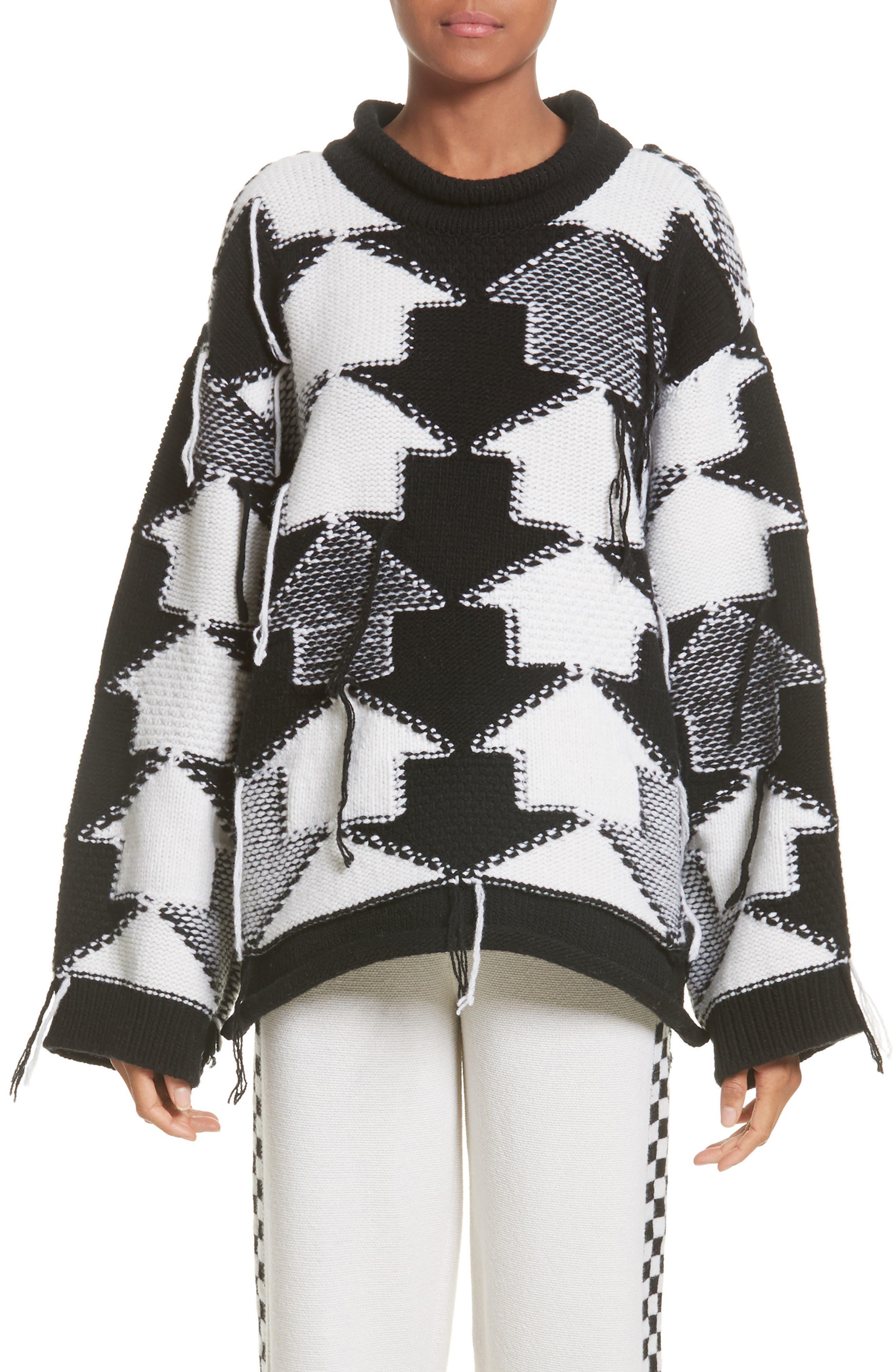 Arrow Intarsia Wool Sweater,                         Main,                         color, Ivory/ Black