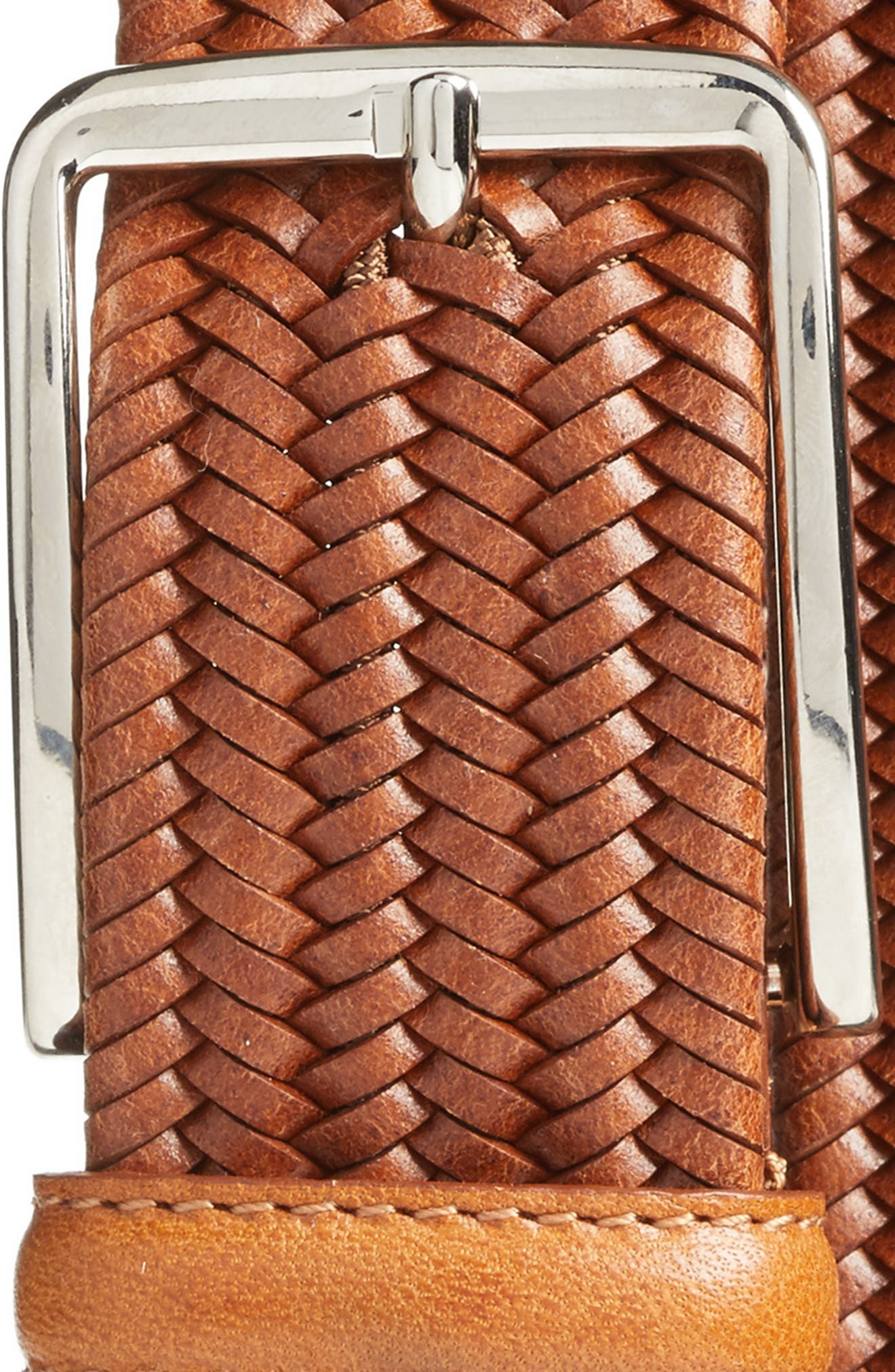 Lexington Braided Leather Belt,                             Alternate thumbnail 2, color,                             Saddle Tan