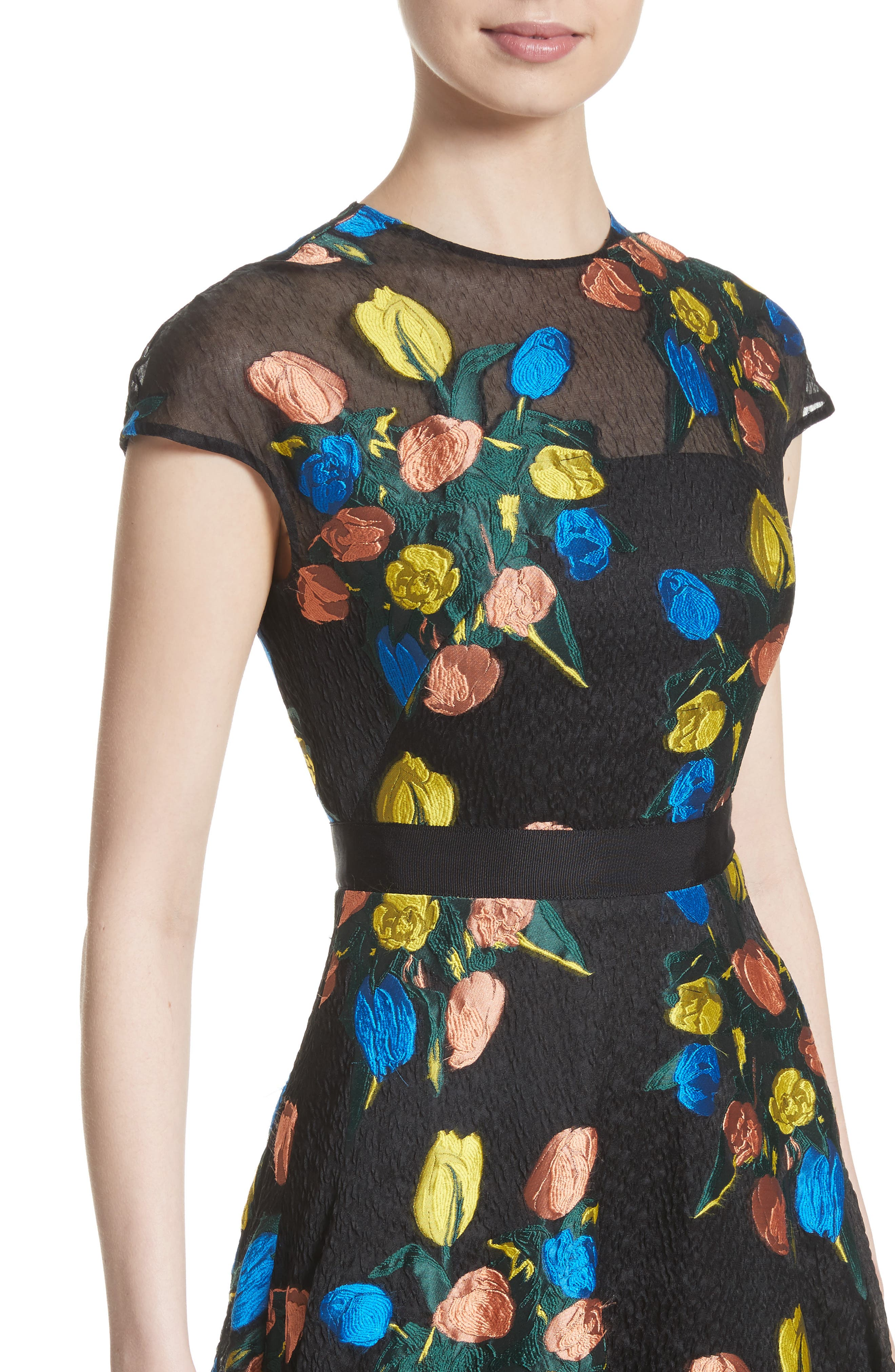 Alternate Image 6  - Lela Rose Tulip Embroidered Fit & Flare Dress