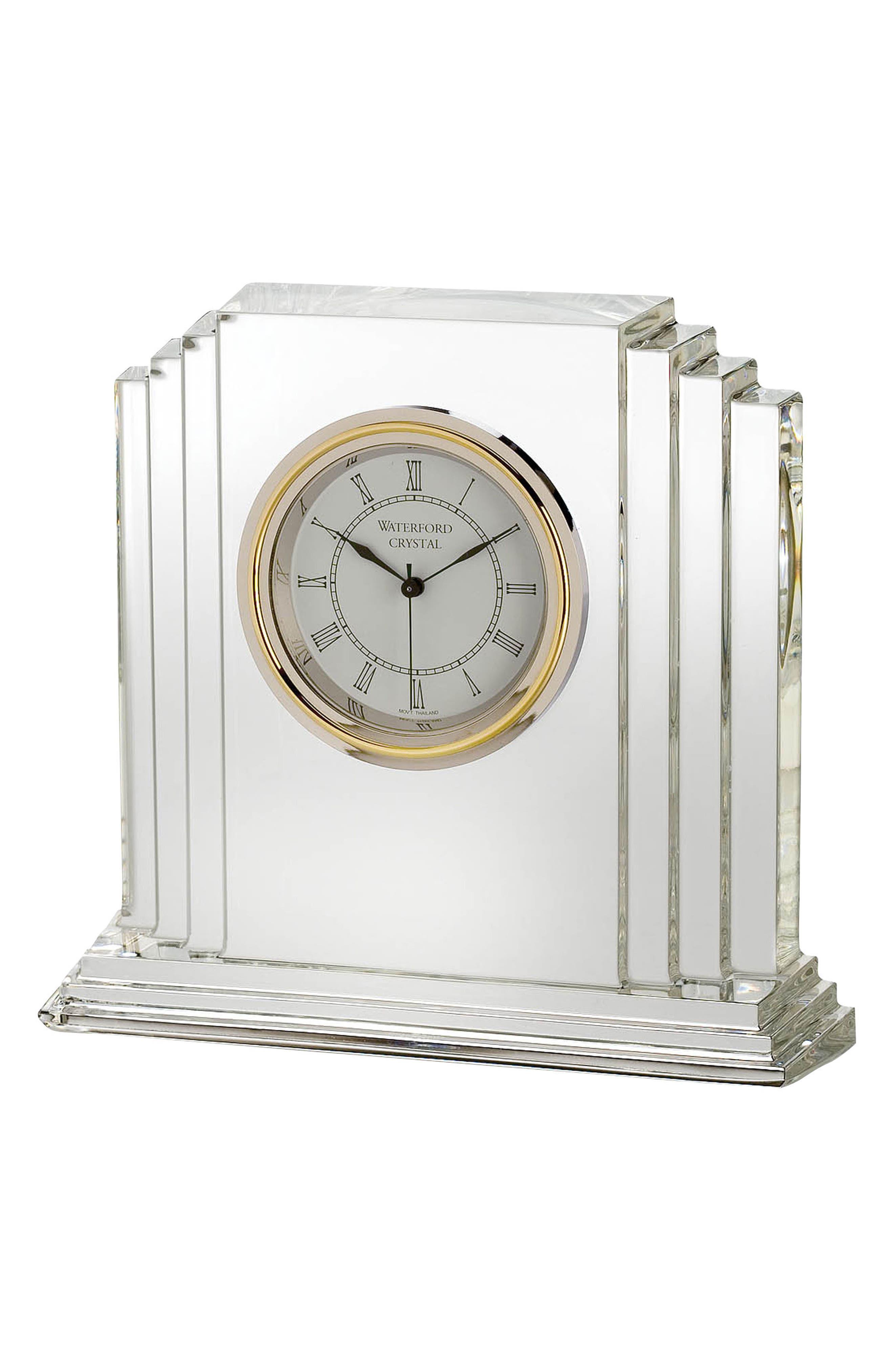 Metropolitan Lead Crystal Clock,                             Main thumbnail 1, color,                             Crystal