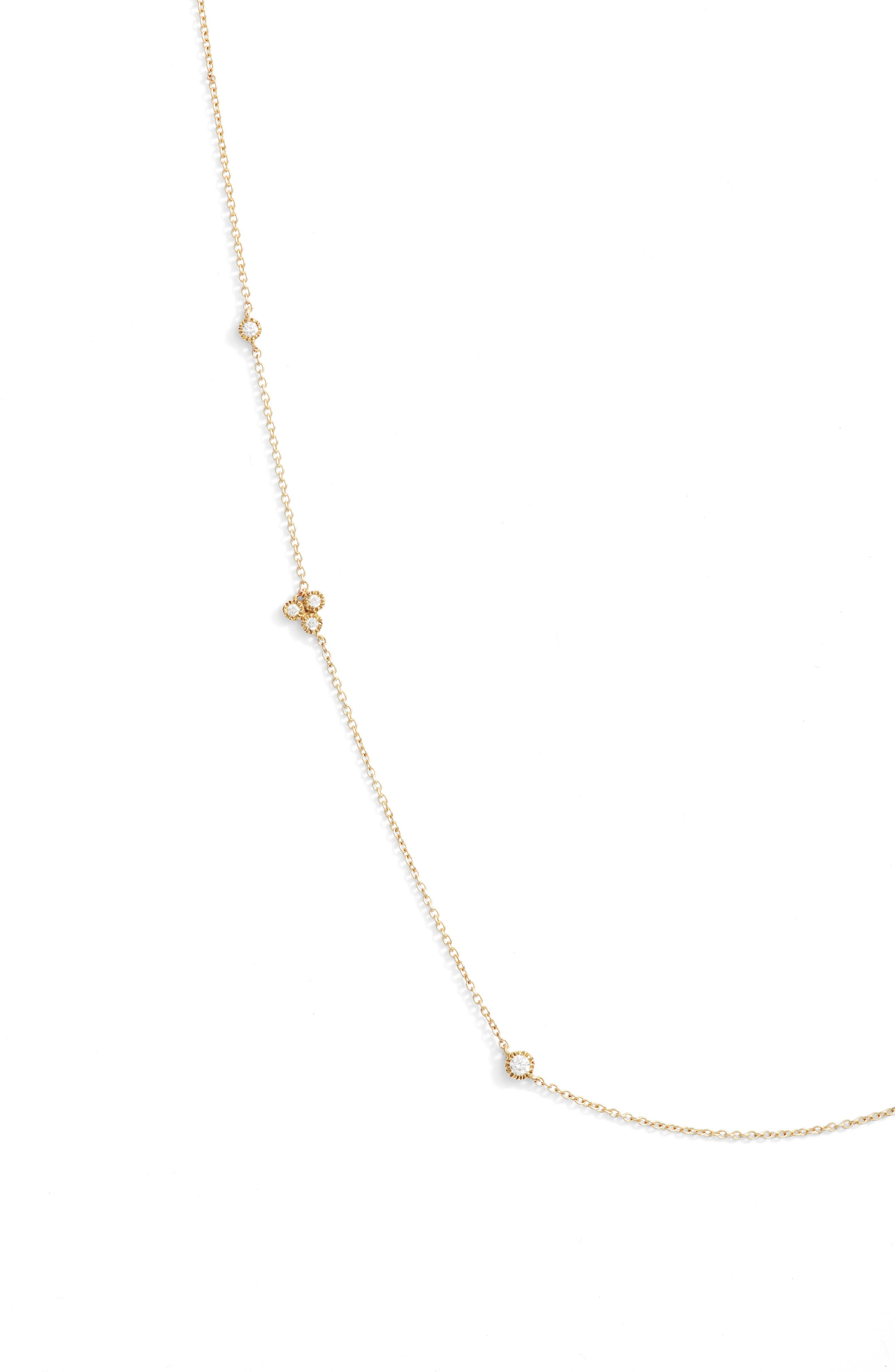 Harlowe Short Diamond Station Necklace,                             Alternate thumbnail 2, color,                             Yellow Gold