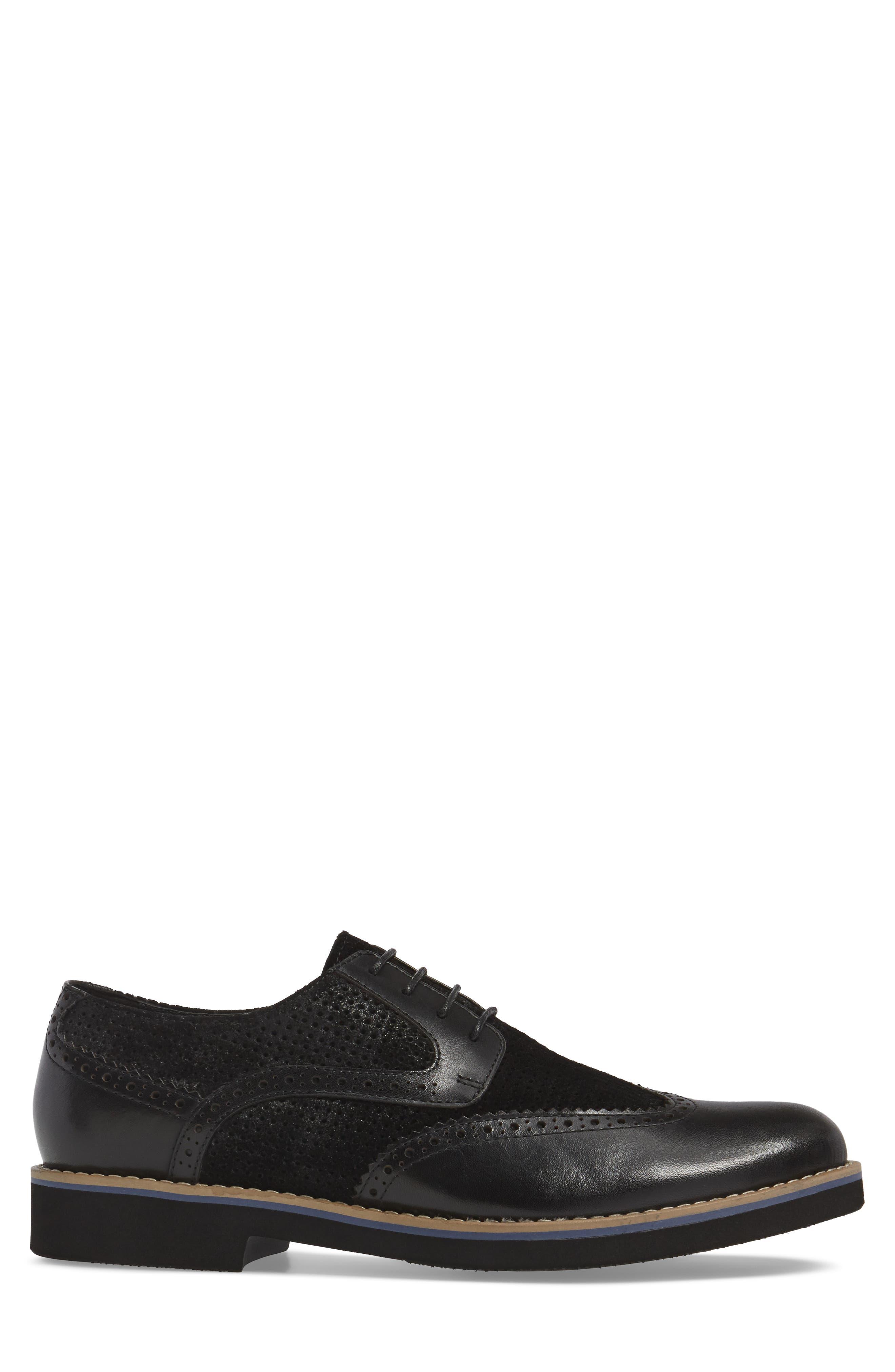 Maritime Spectator Shoe,                             Alternate thumbnail 3, color,                             Black Leather