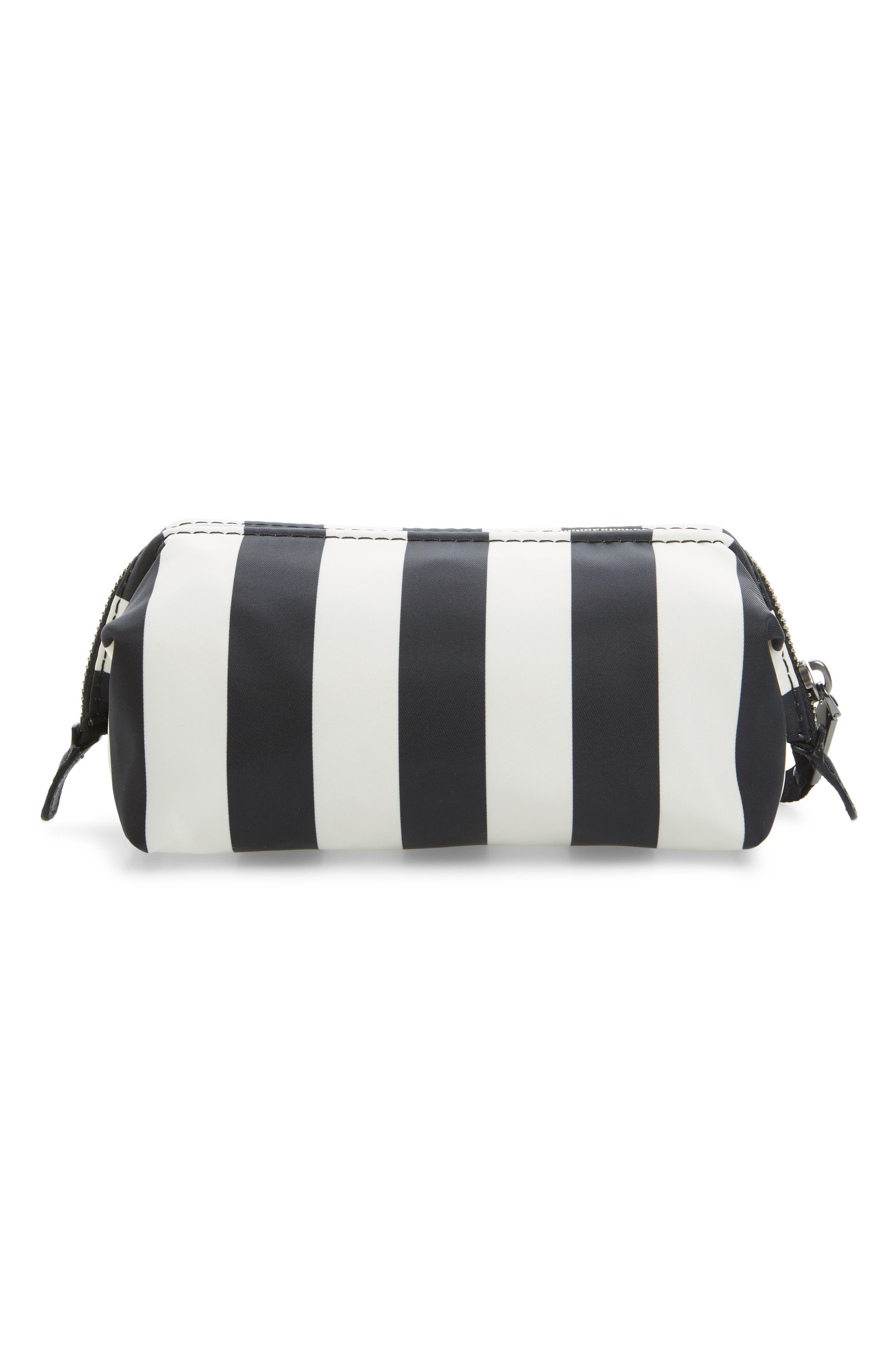 Stripes Trooper Cosmetics Bag,                             Alternate thumbnail 2, color,                             Black Multi