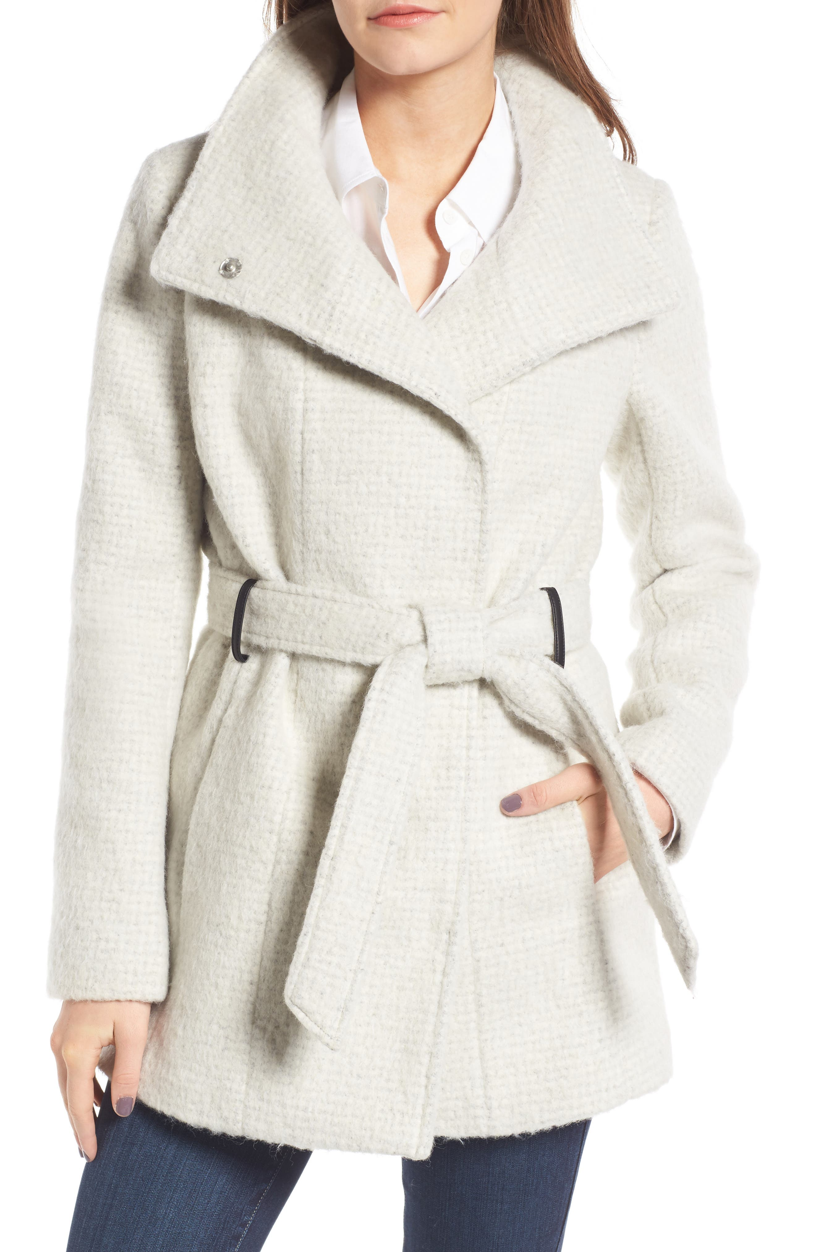 Belted Wrap Coat,                         Main,                         color, Stone