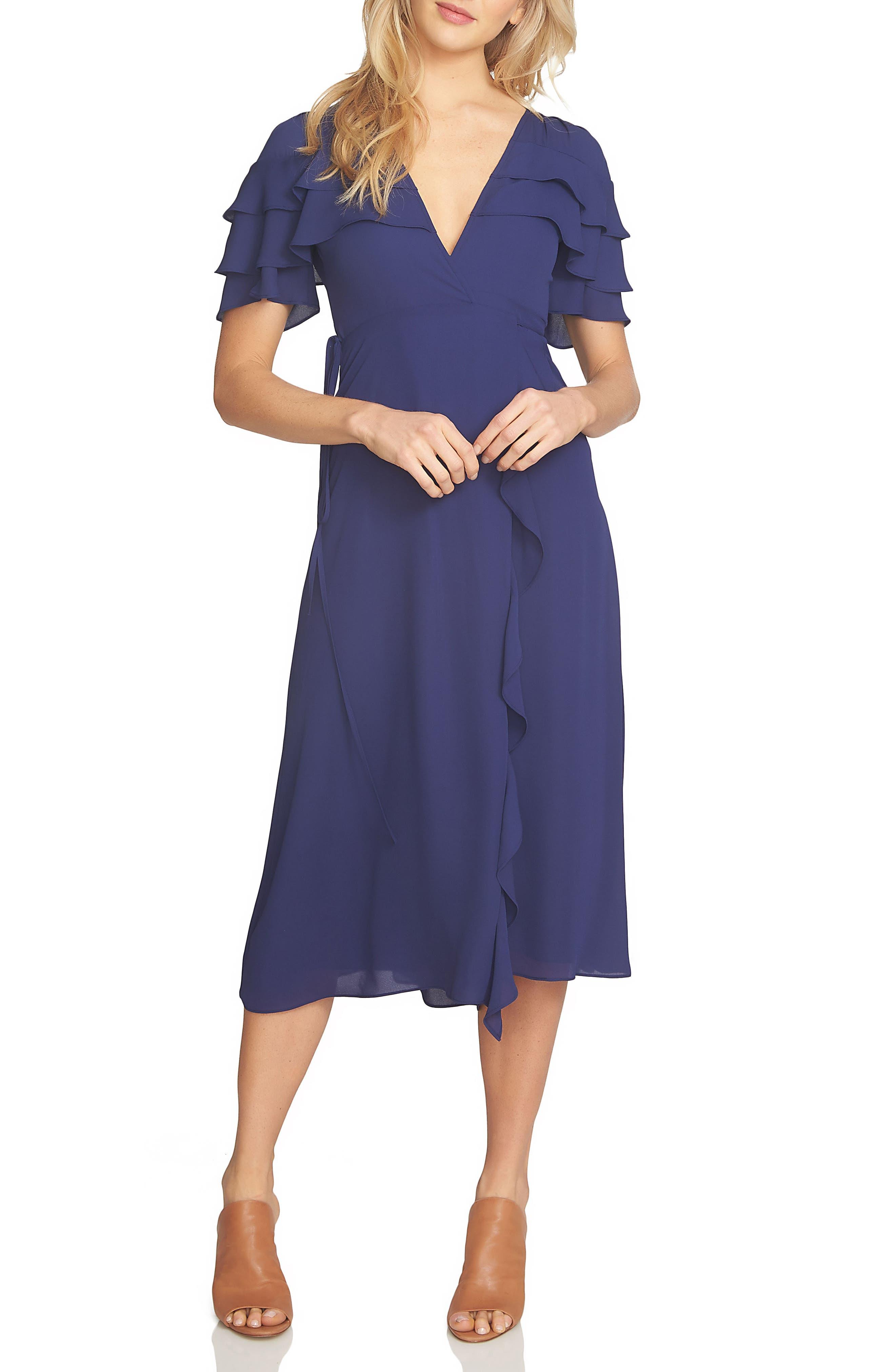 1.STATE Wrap Ruffle Midi Dress