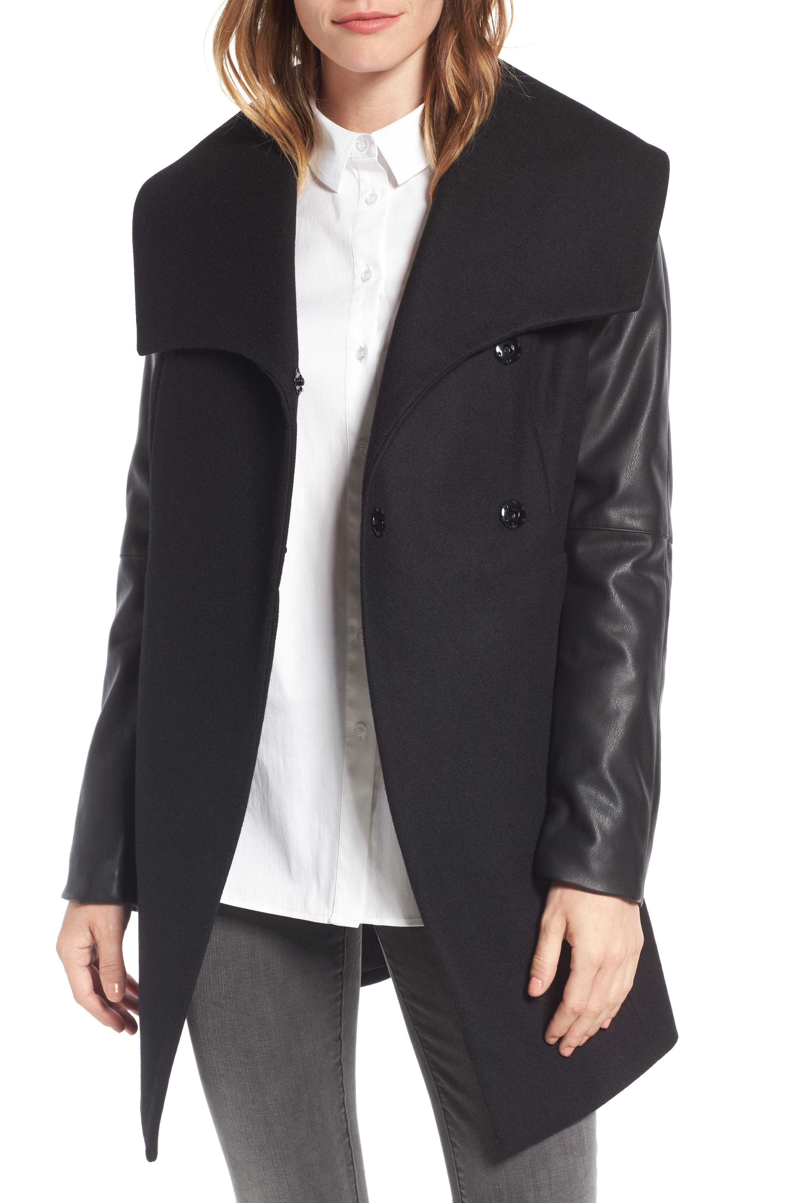 Laundry by Shelli Segal Faux Leather Sleeve Wool Blend Coat