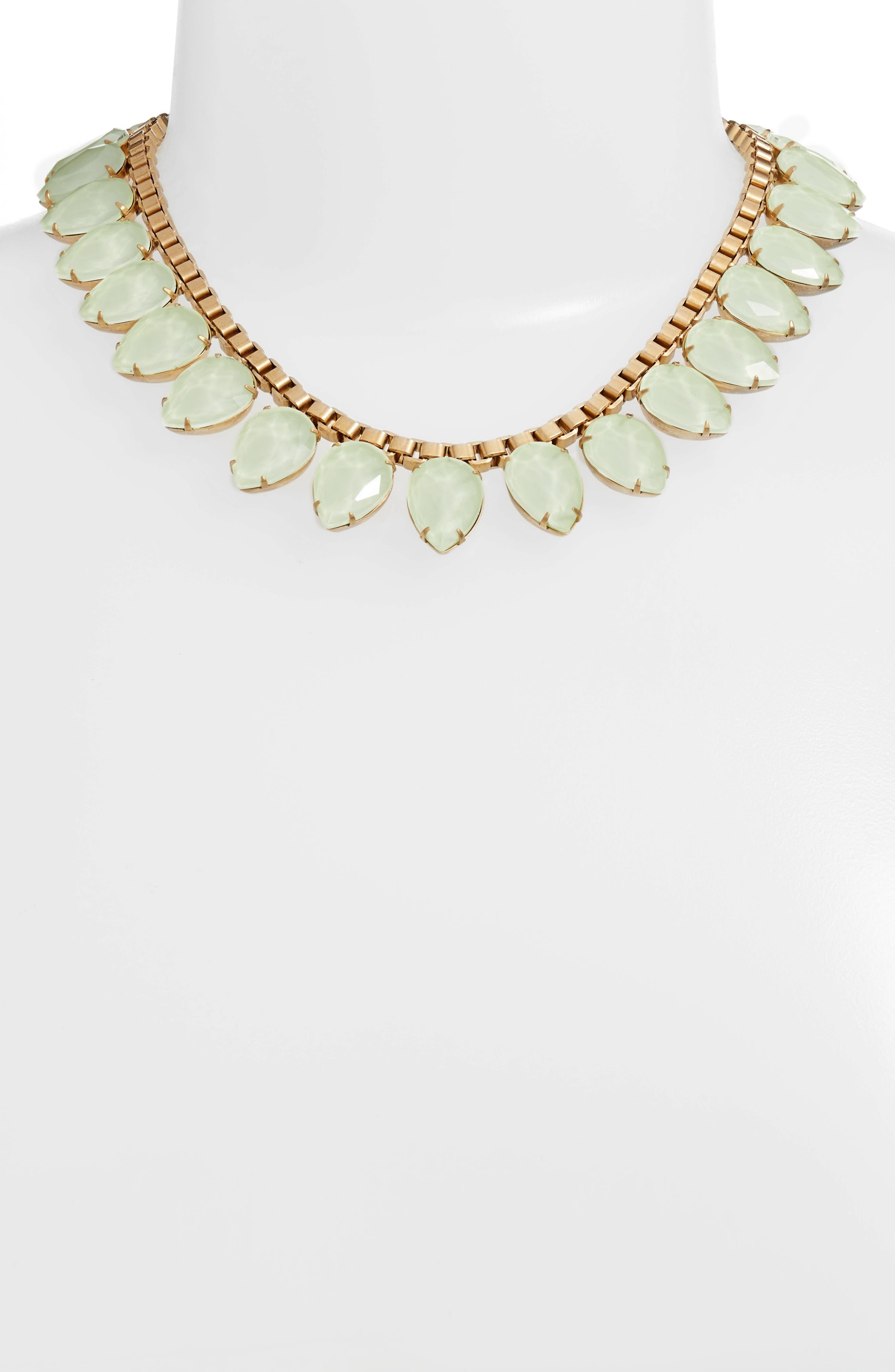 'Sylvia' Crystal Collar Necklace,                             Alternate thumbnail 2, color,                             Milky Green