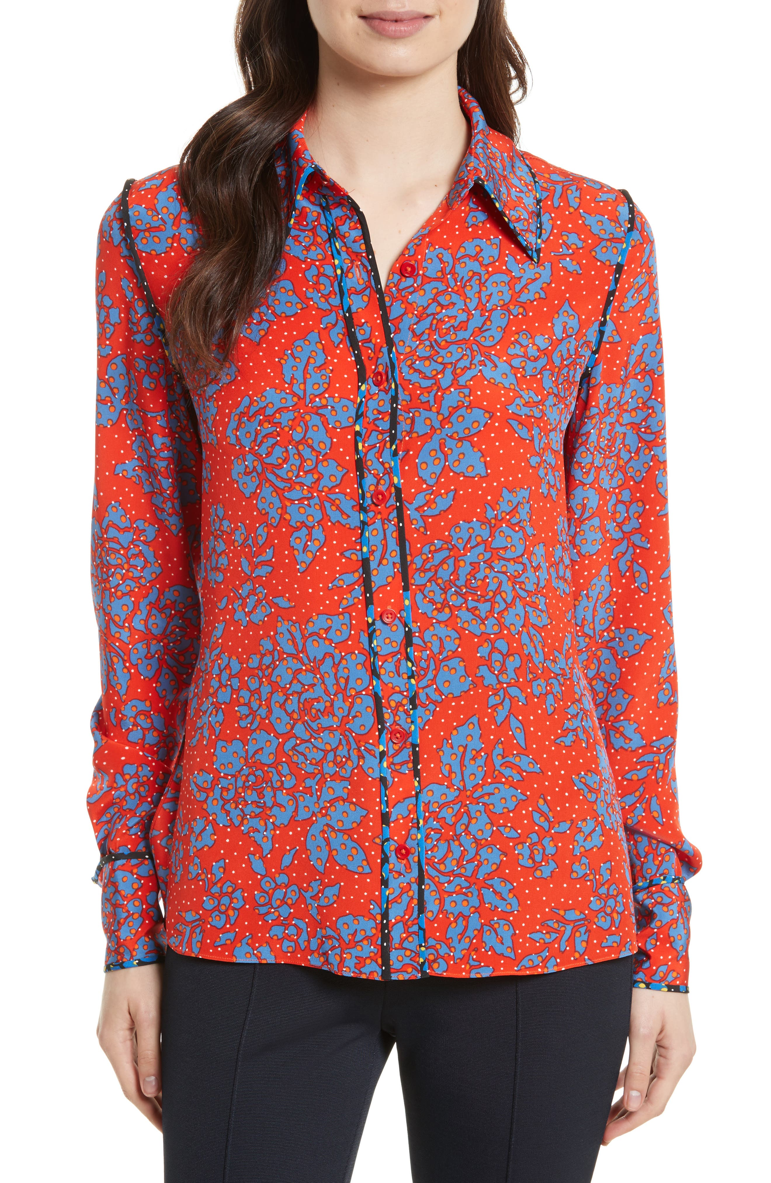Print Silk Shirt,                         Main,                         color, Bright Red/ Callow Black
