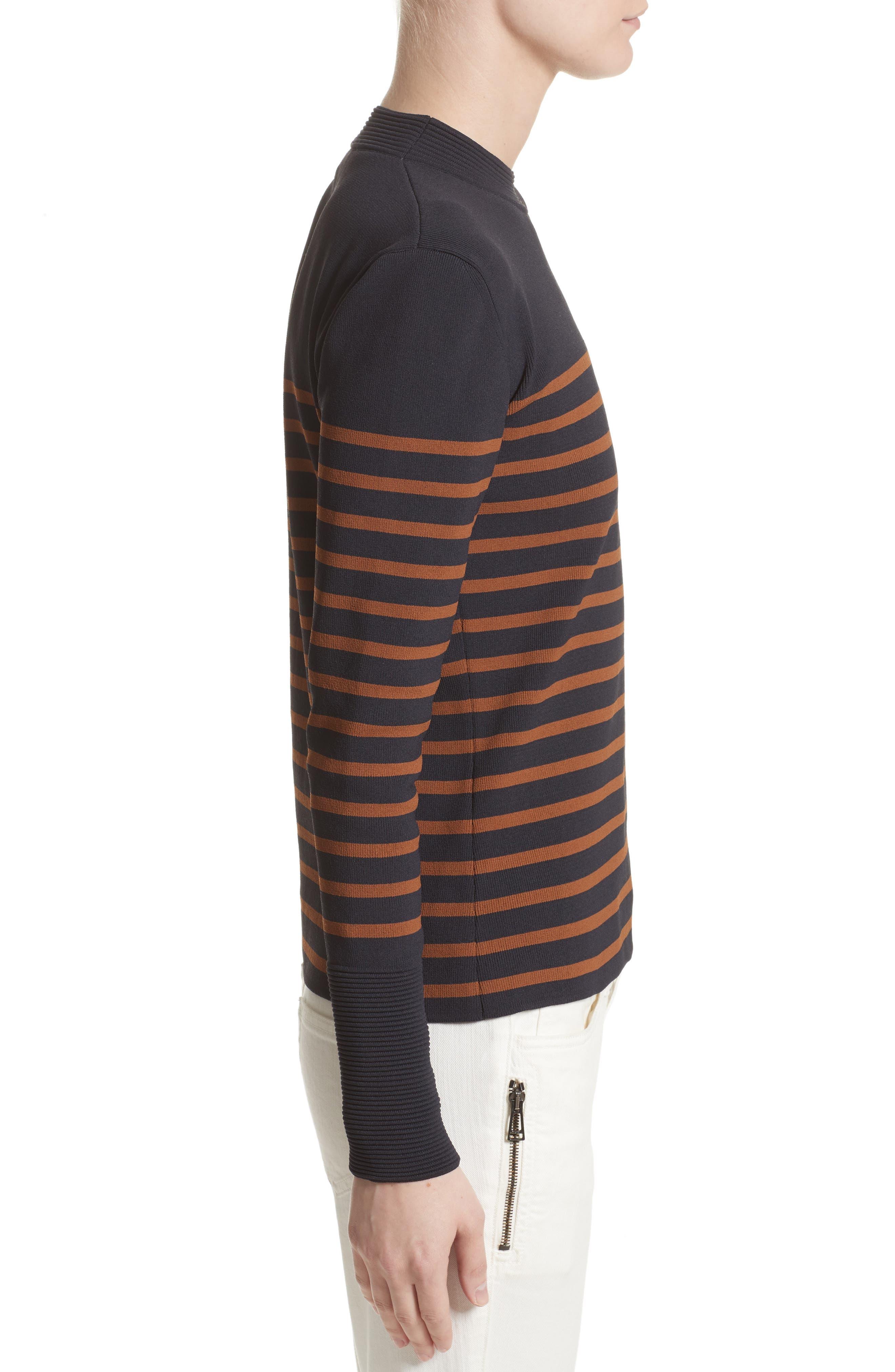 Selicia Stripe Sweater,                             Alternate thumbnail 5, color,                             Black
