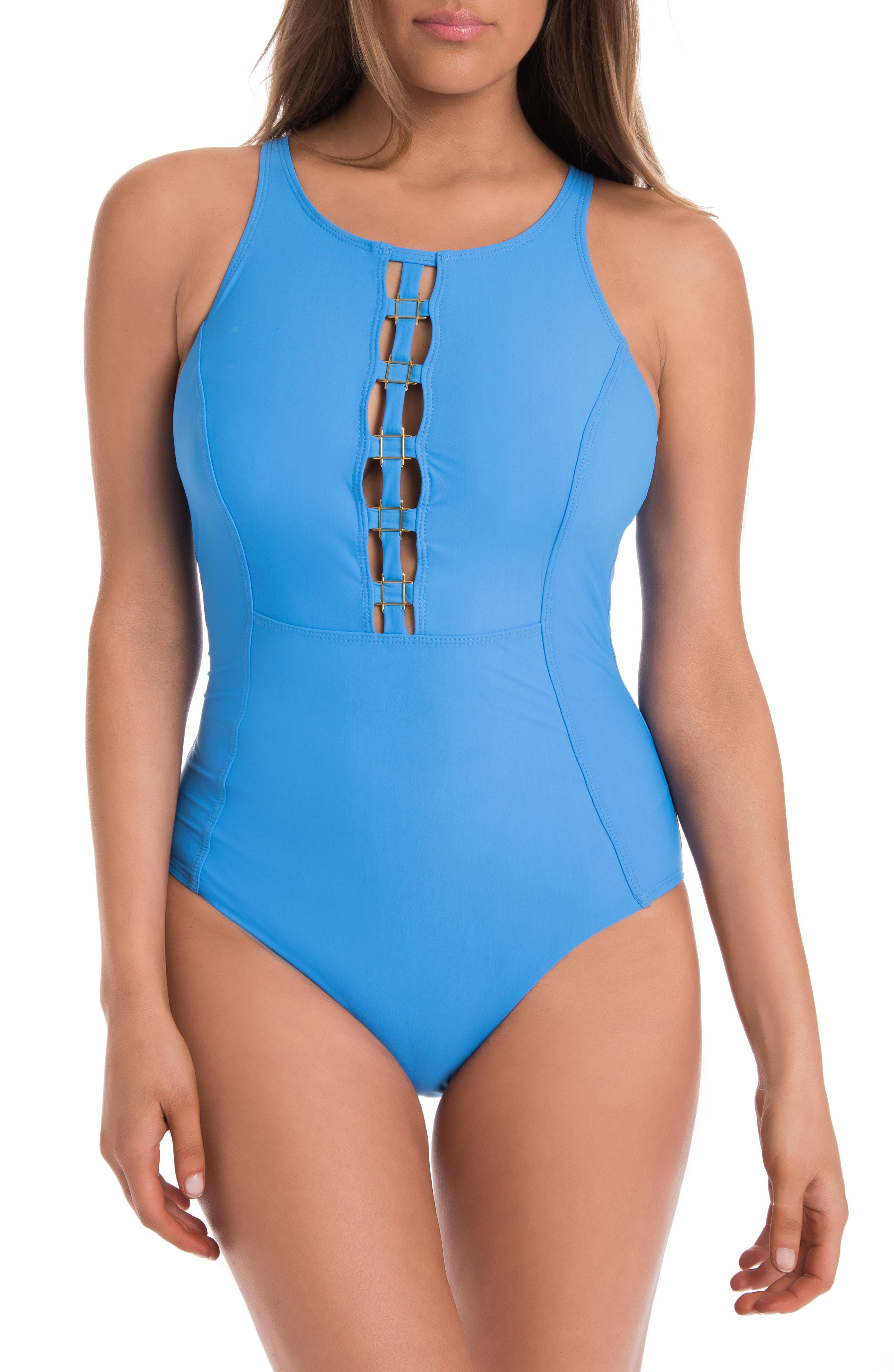You Only Live Twice Sonder One-Piece Swimsuit,                             Main thumbnail 1, color,                             Pool Blue
