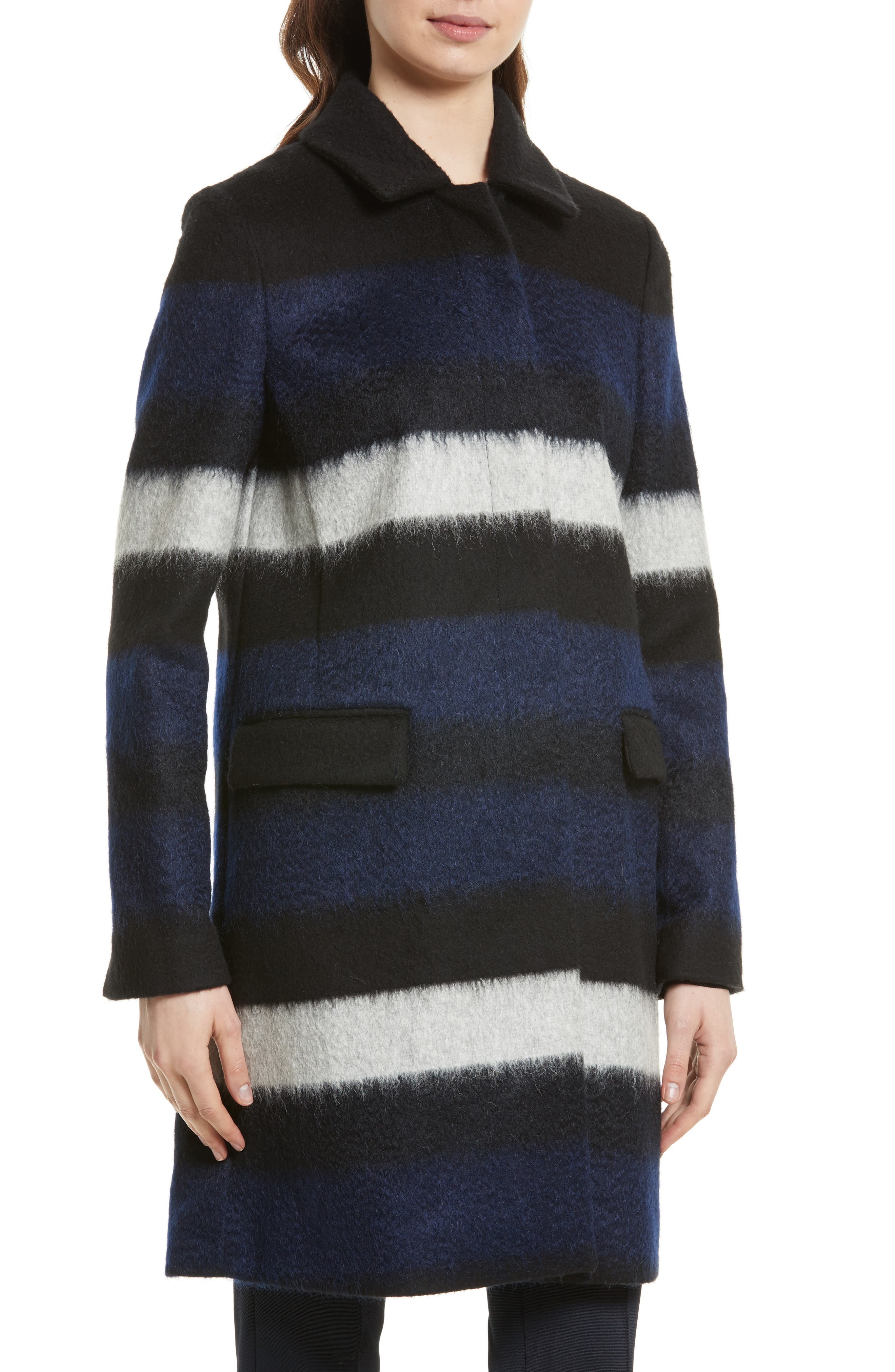 Stripe Wool Blend Coat,                             Alternate thumbnail 4, color,                             Black Multi Stripe