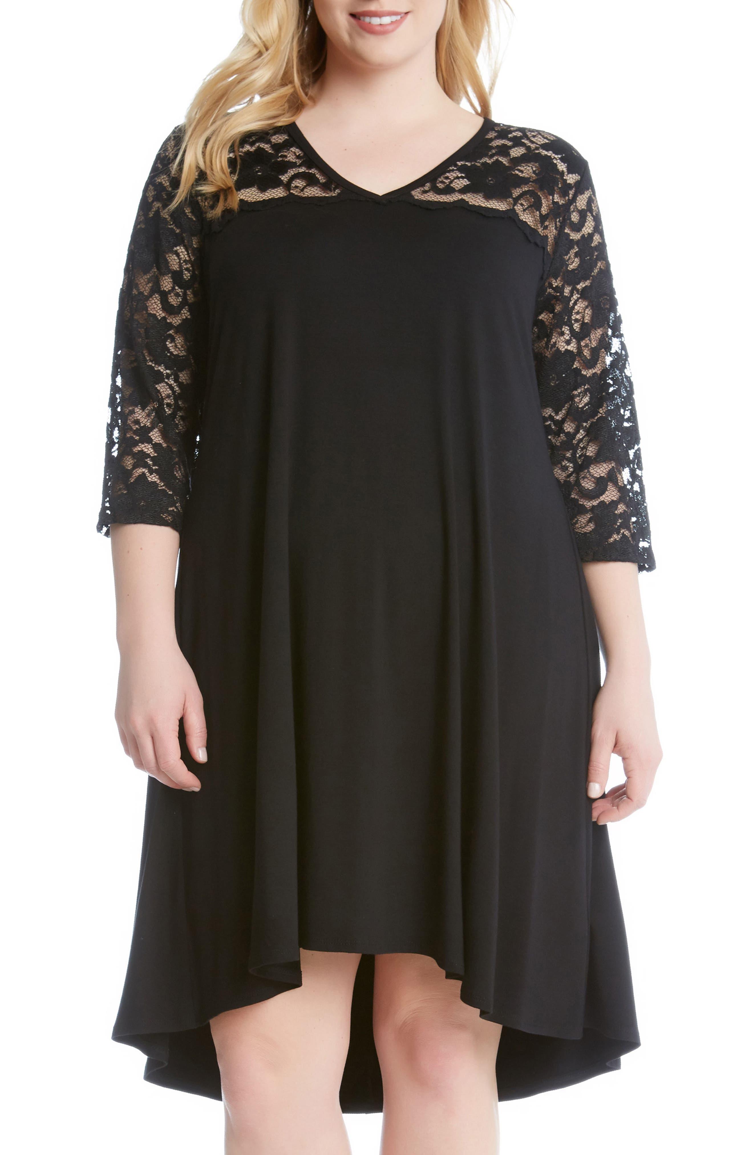 Alternate Image 1 Selected - Karen Kane Lace Yoke Trapeze Dress (Plus Size)